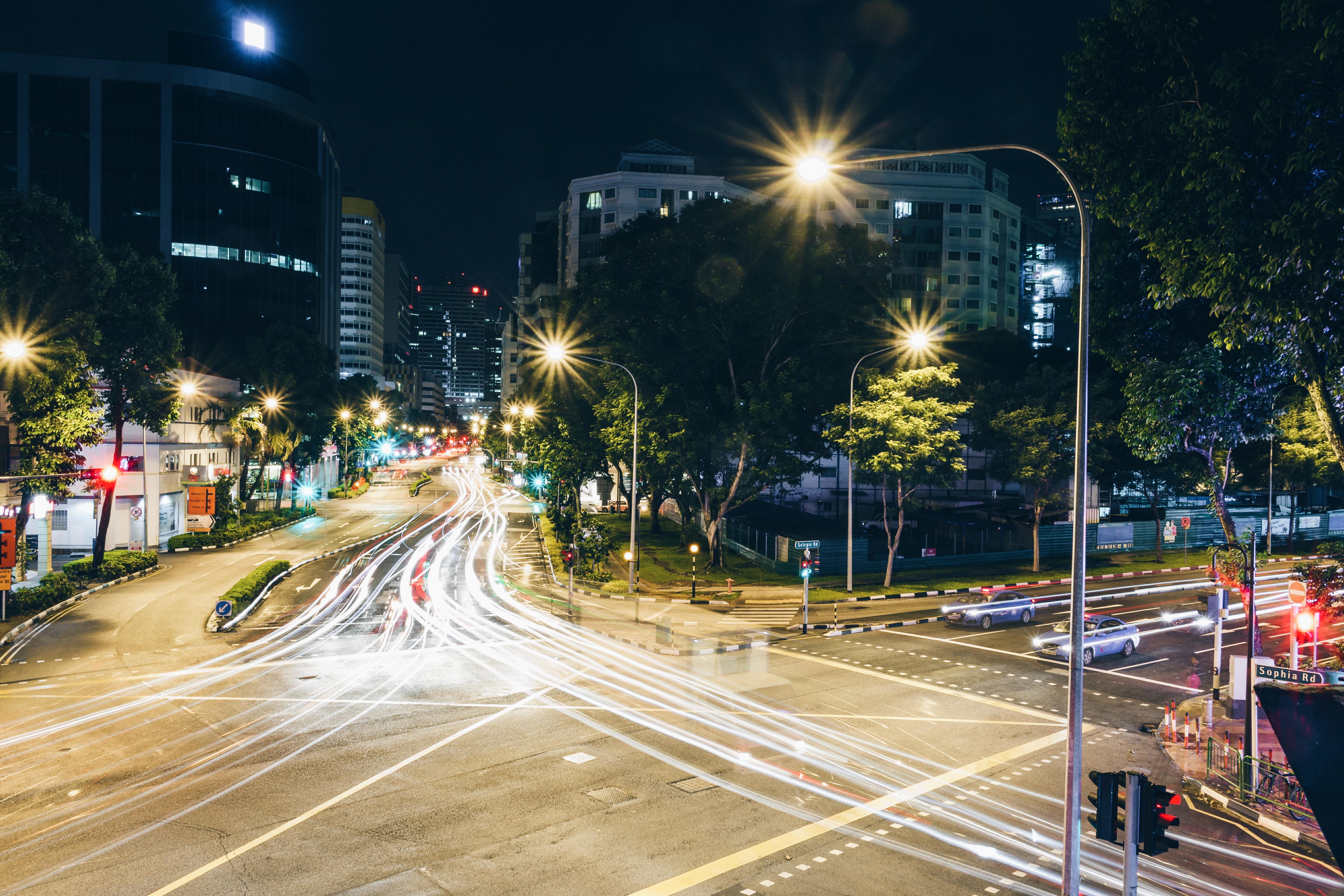 Pedestrian Light Road Traffic Street Night City Cityscape Downtown Evening  Street Light Lighting Long Exposure Lights