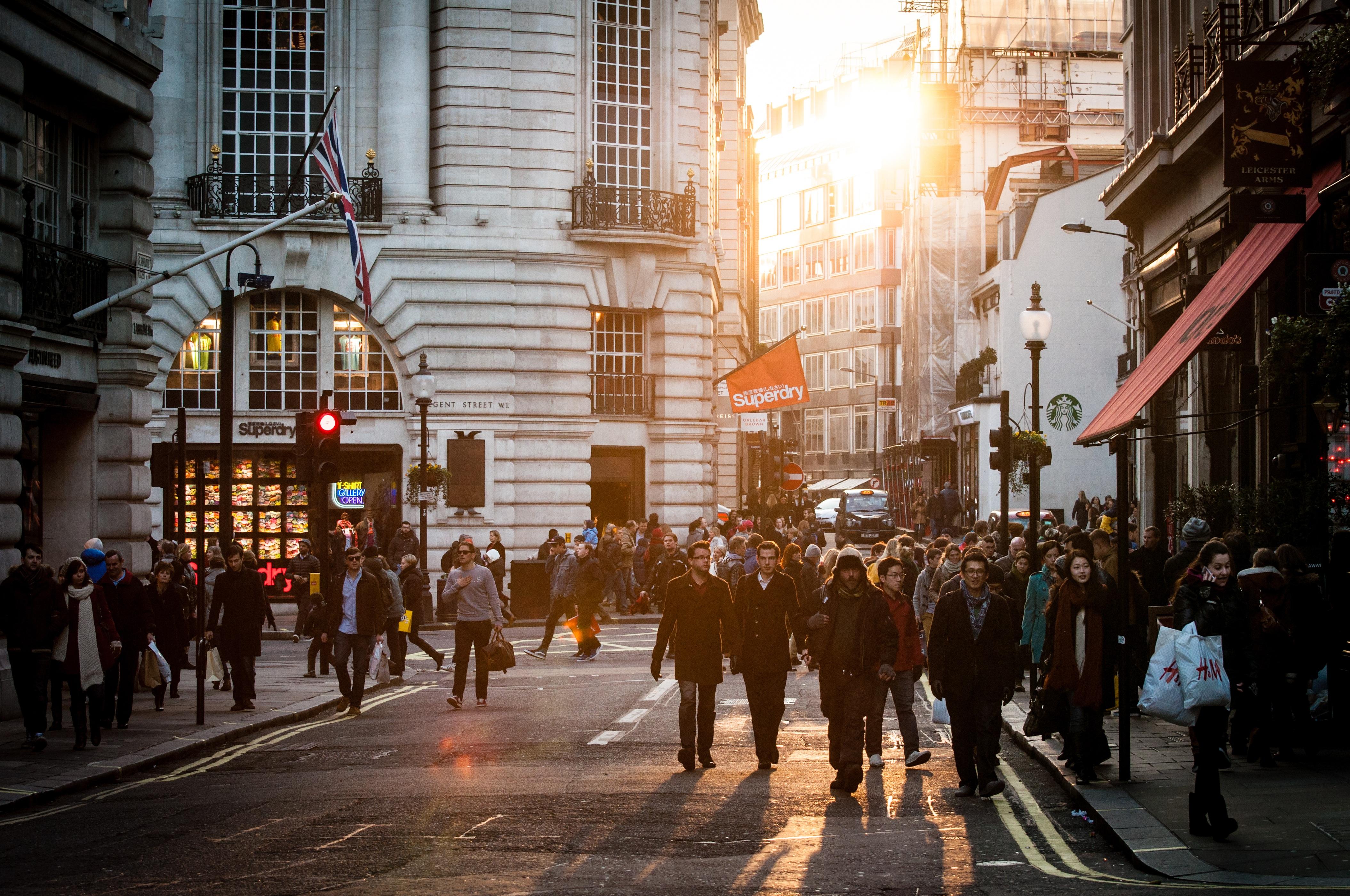 Busy Street Sidewalk Free Images : pedestri...