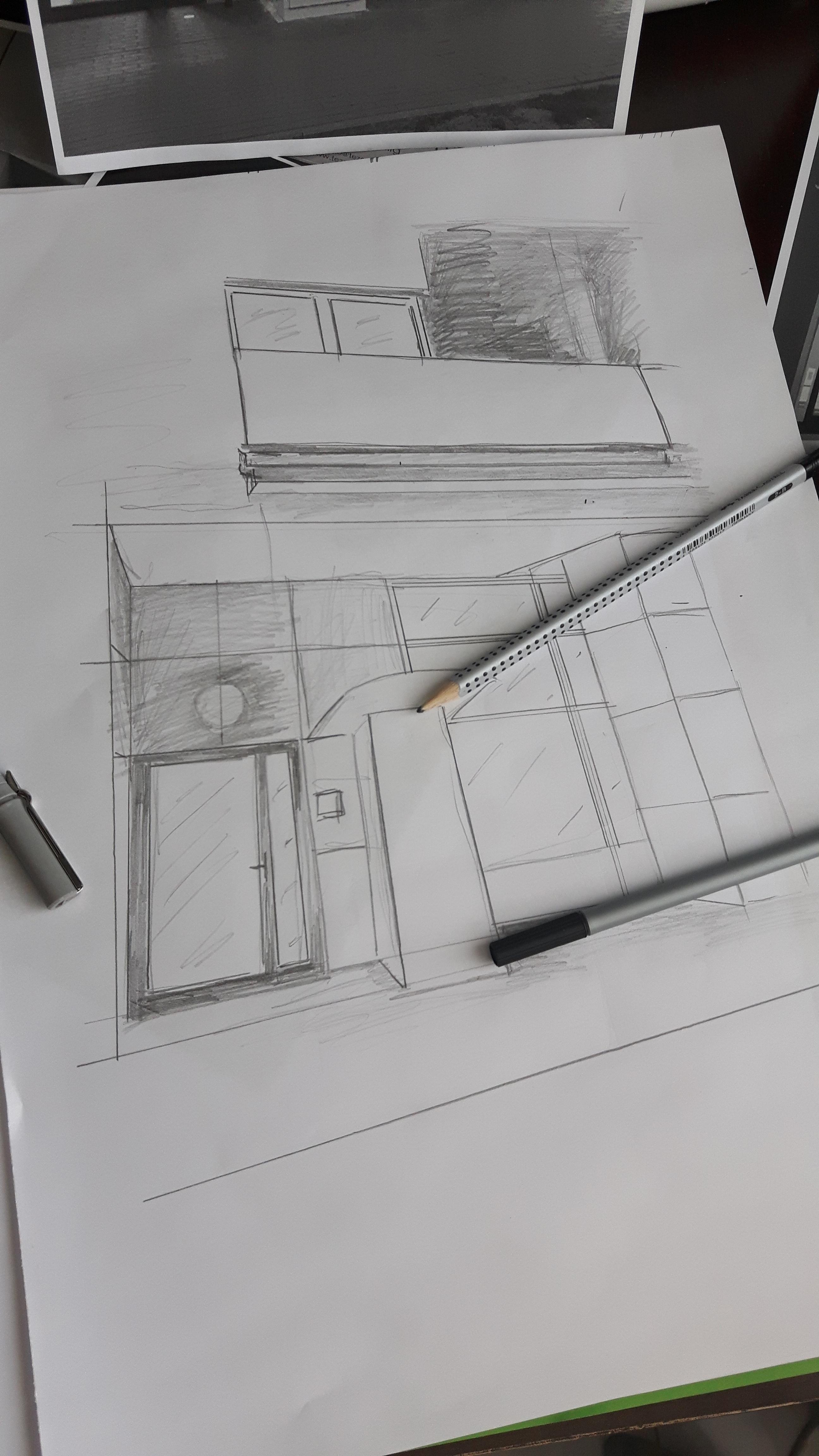 Pensil arsitektur putih seni angka sketsa gambar desain dokumen o weczek model skala