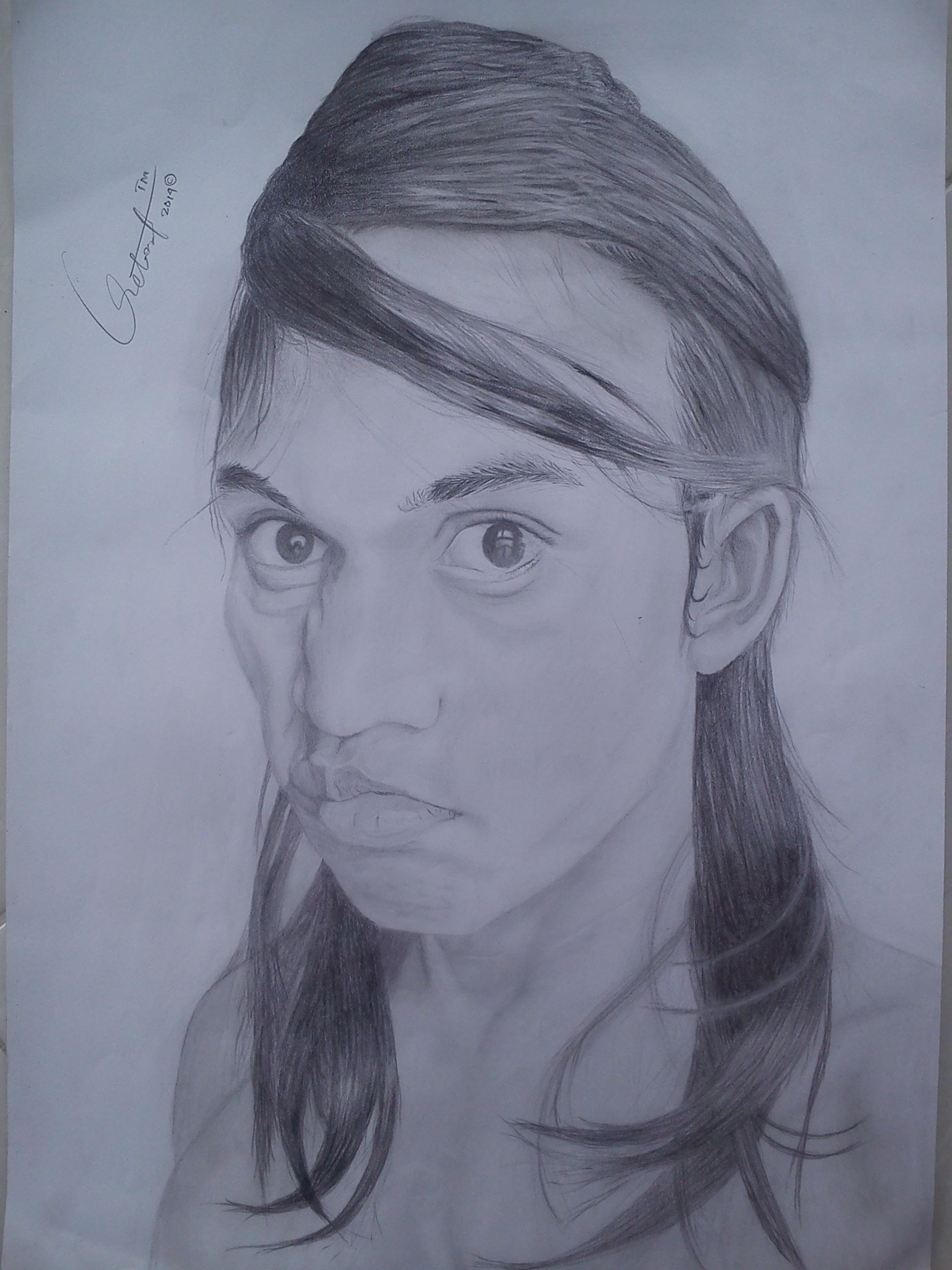 Pencil portrait artwork face sketch drawing illustration head draw art model figure drawing