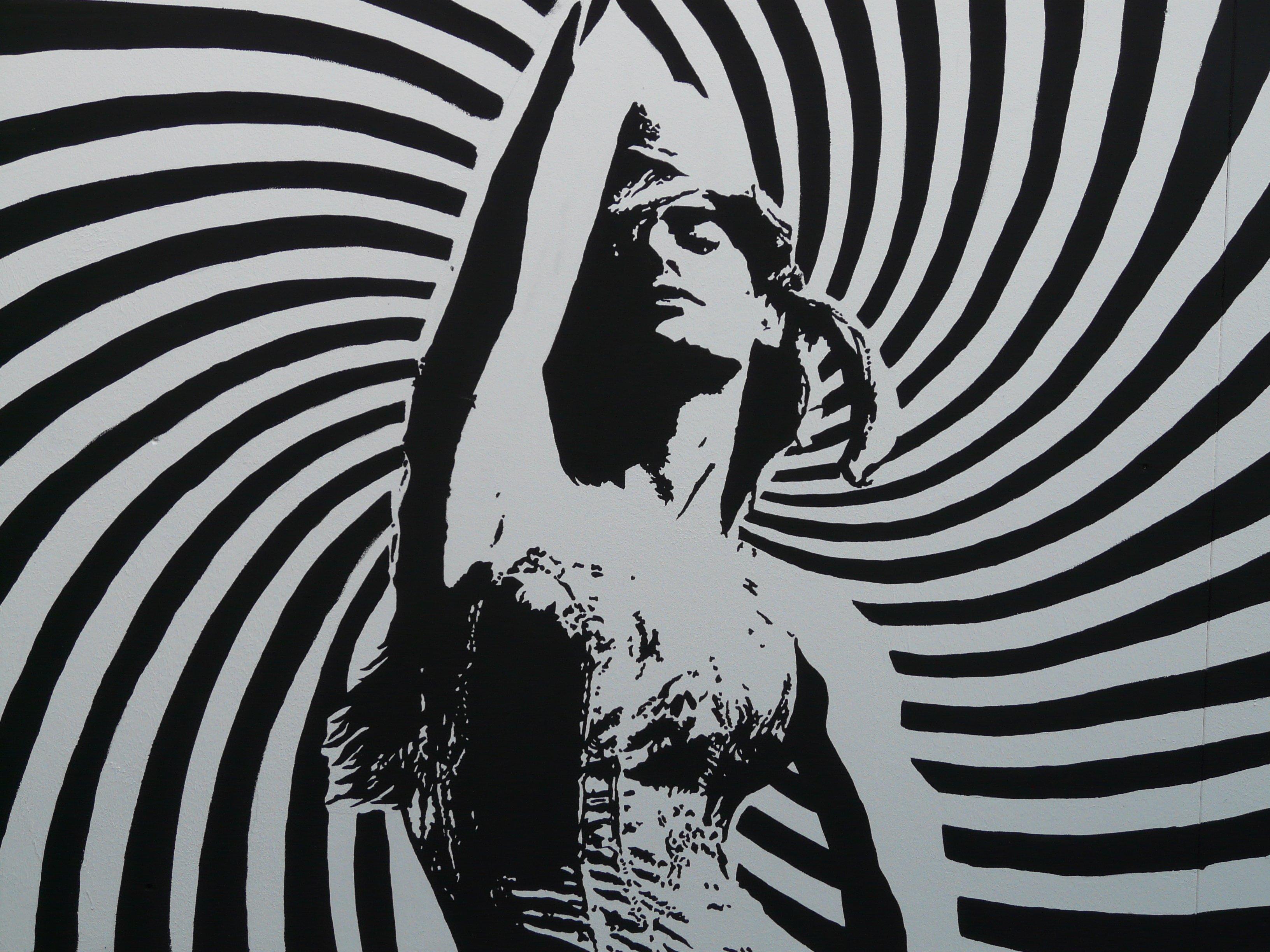 Gambar Orang Hitam Dan Putih Wanita Spiral Garis
