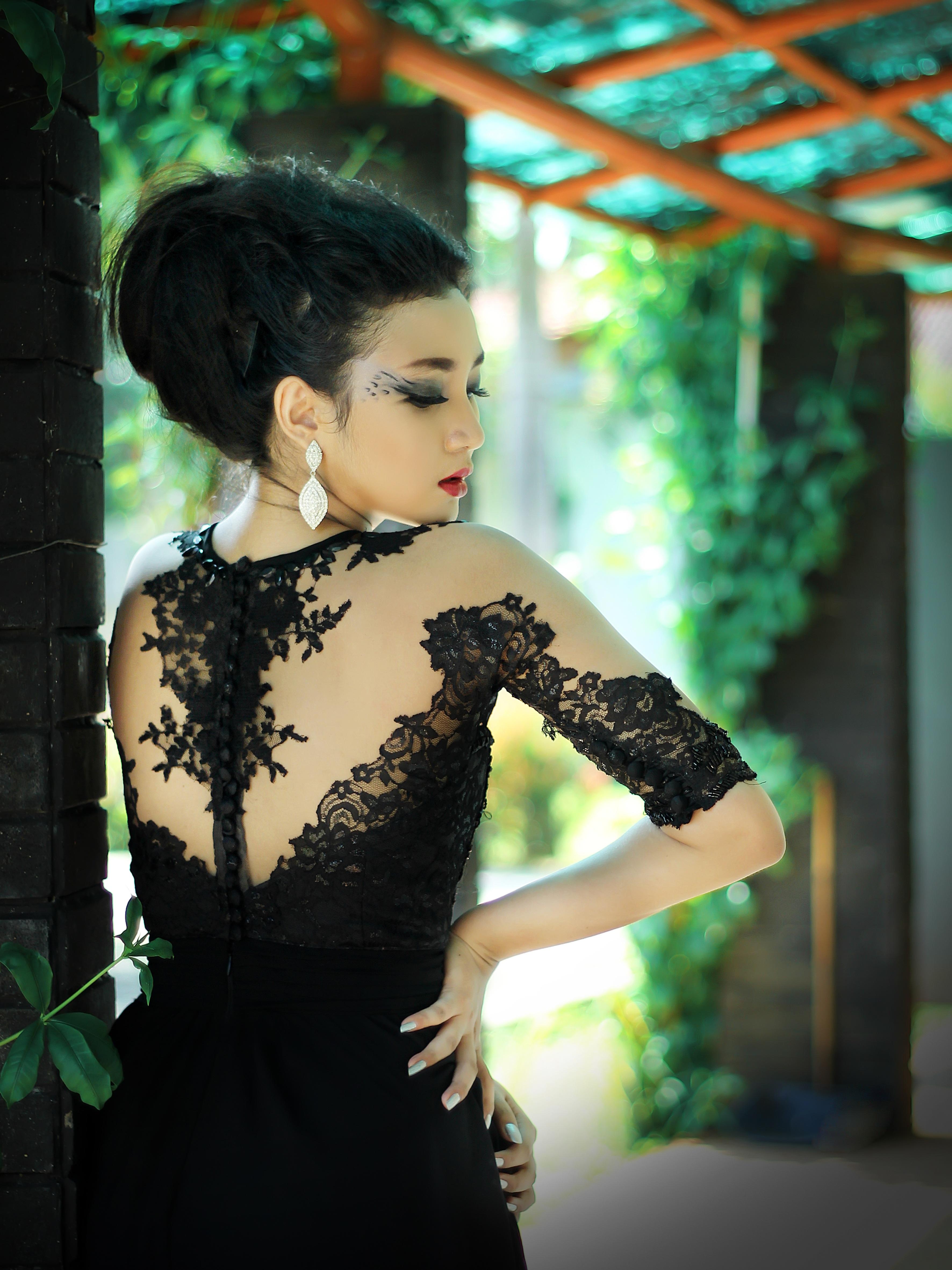 4443648b6 persona niña mujer fotografía hembra patrón modelo verde Moda ropa negro  dama vestir diseño belleza hermosa