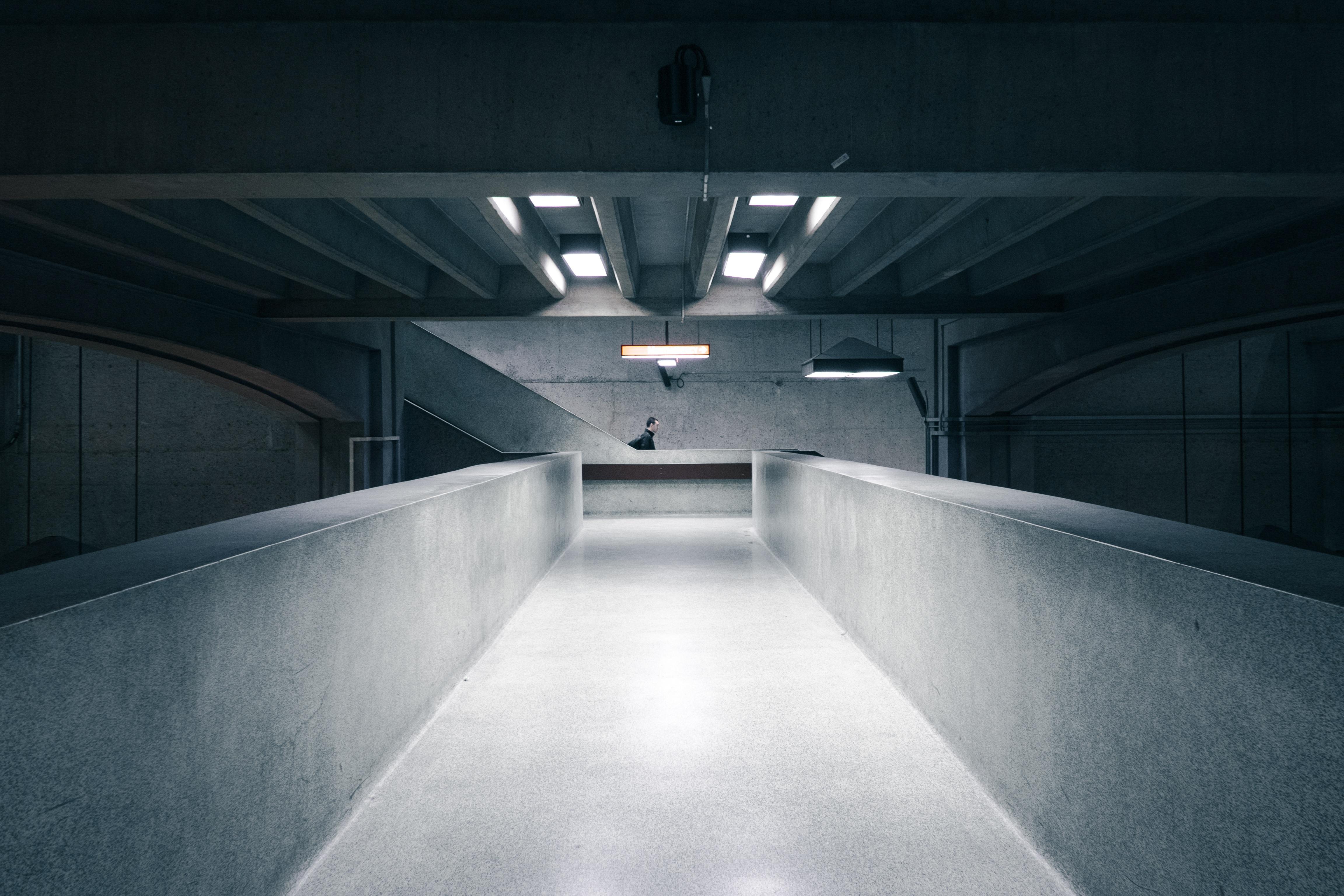 dark basement stairs. Person Light Structure White Bridge Perspective Building Urban Wall Staircase Tunnel Escalator Subway Underground Transportation Construction Dark Basement Stairs
