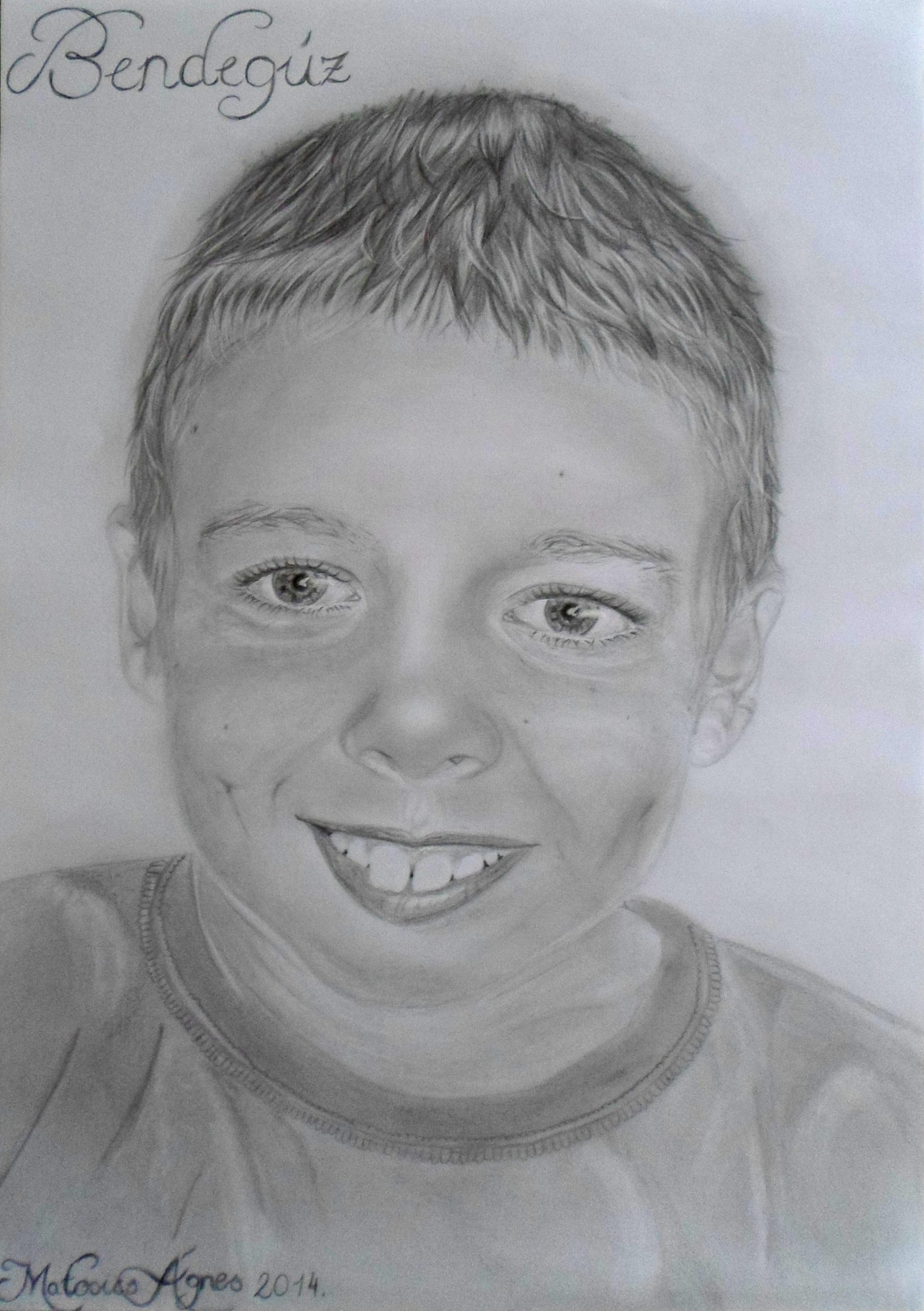Gambar Orang Pensil Putih Anak Laki Laki Potret Tersenyum
