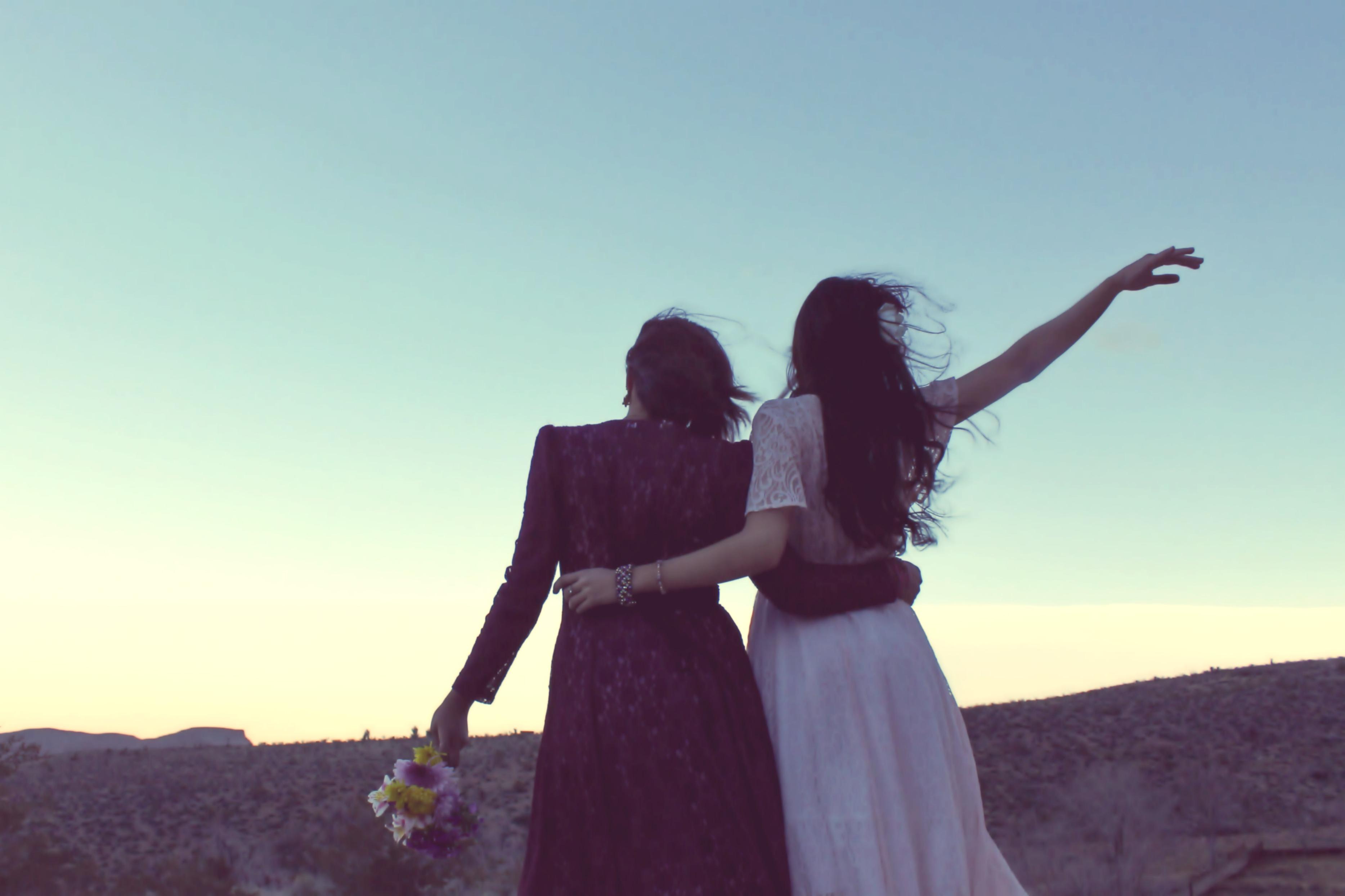 Free Images Person Woman Sunset Photography Carefree Romance Huging Sponge Friendship Bride Hug Desert Landscape Dress Photograph Image Goodbye Hugging