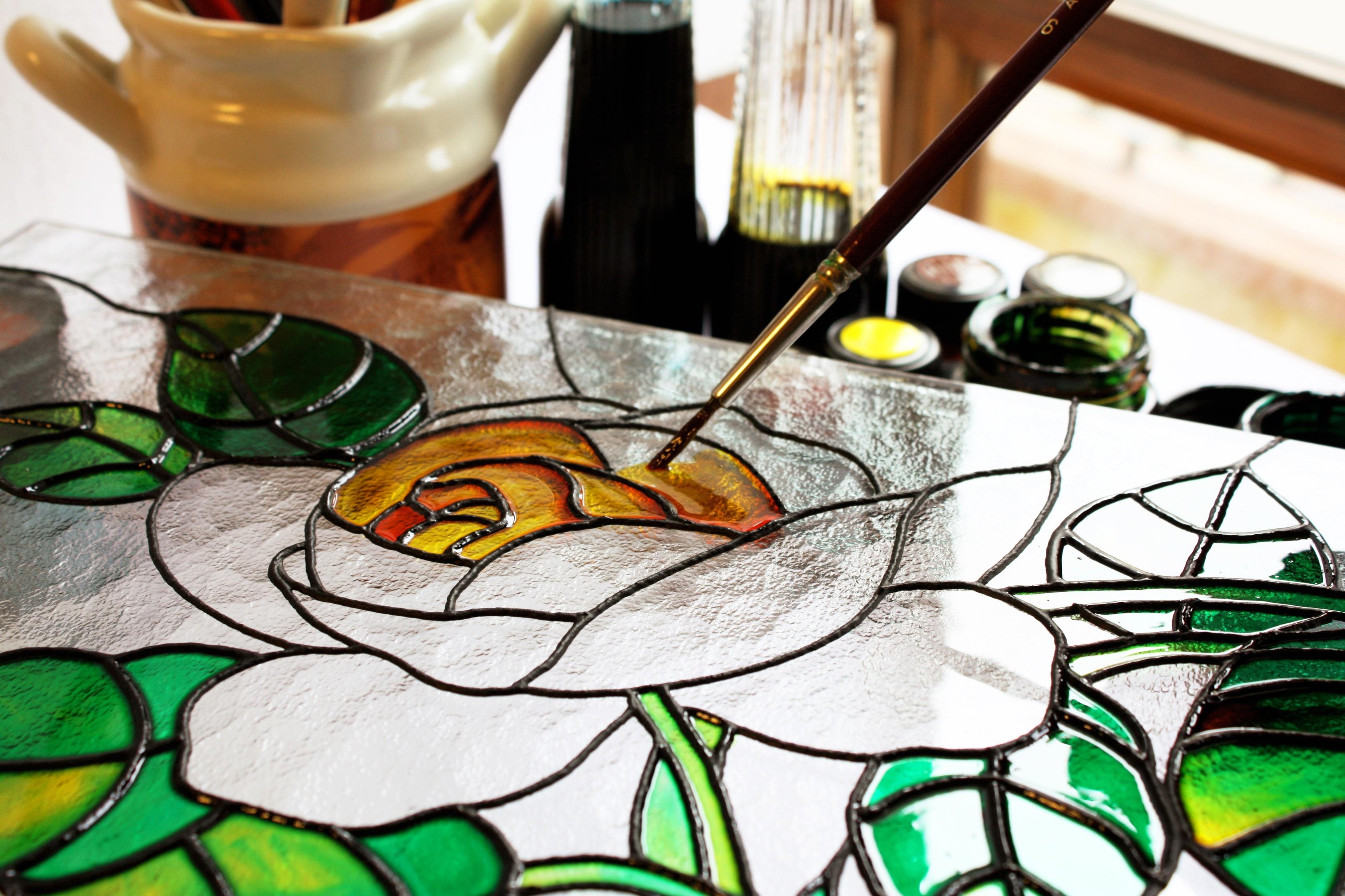 Fotoğraf Taçyaprağı Bardak Fırça Renk Boya Malzeme Vitray