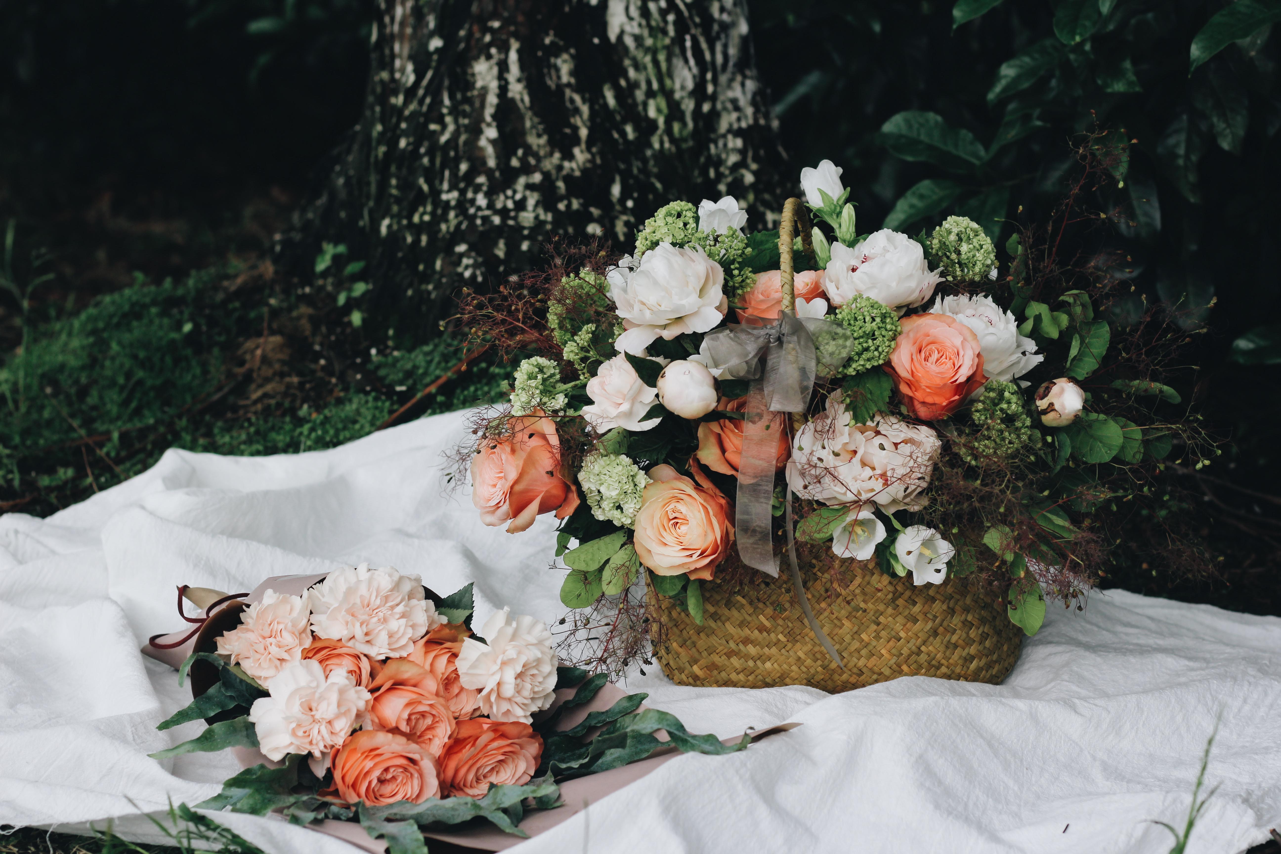 Free Images Plant Basket Flora Flower Arrangement Roses