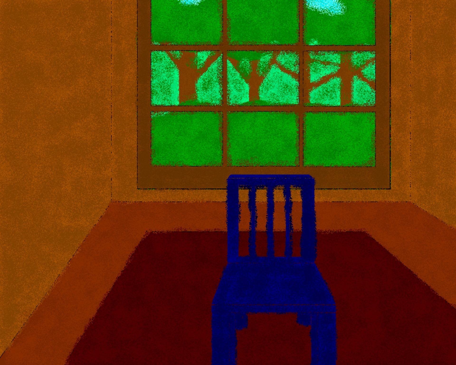 Fotograf Oyun Sandalye Pencere Desen Yesil Kirmizi Bosluk