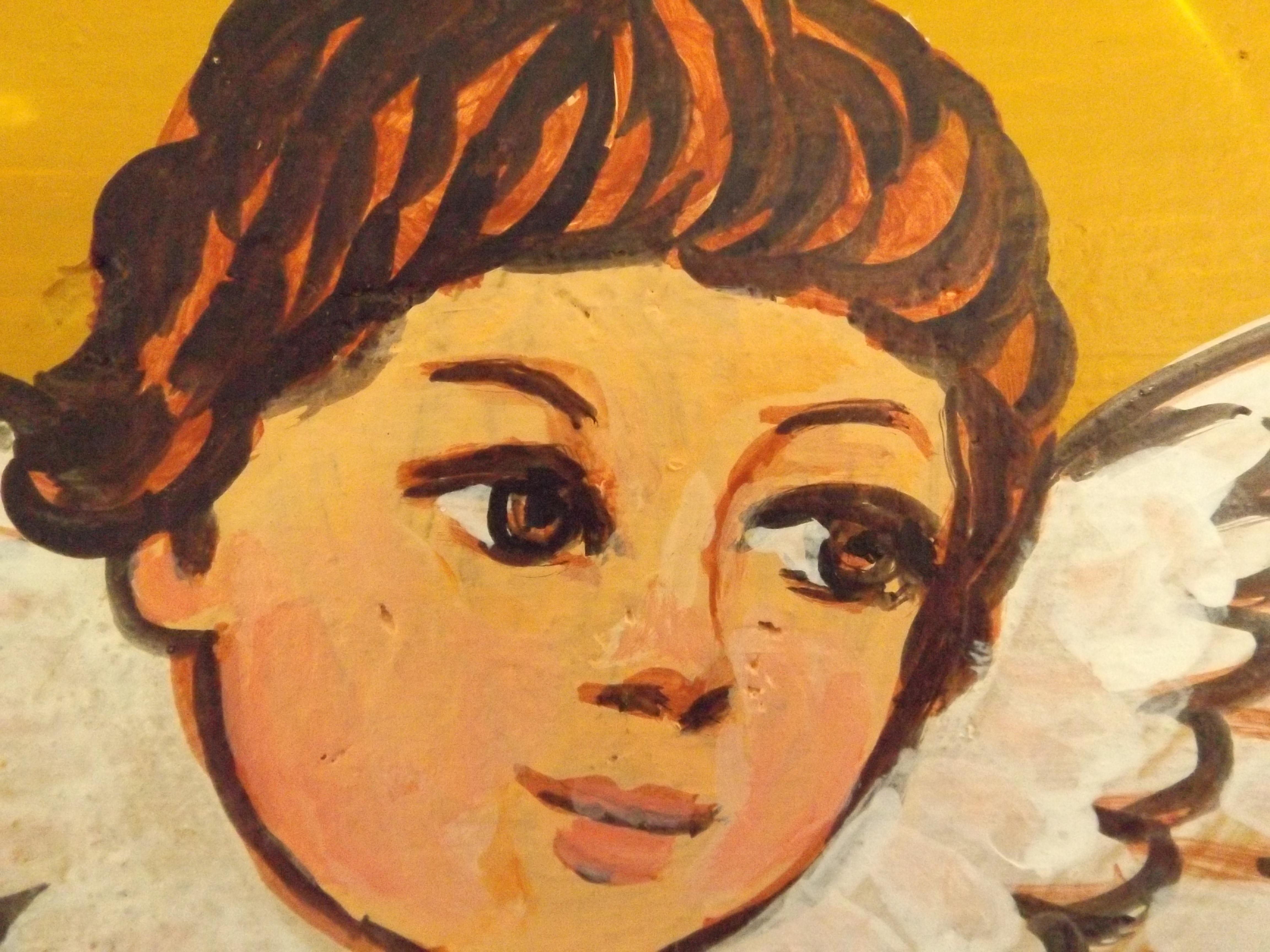 Fotoğraf Portre çocuk Boyama Yüz Melek Eskiz çizim