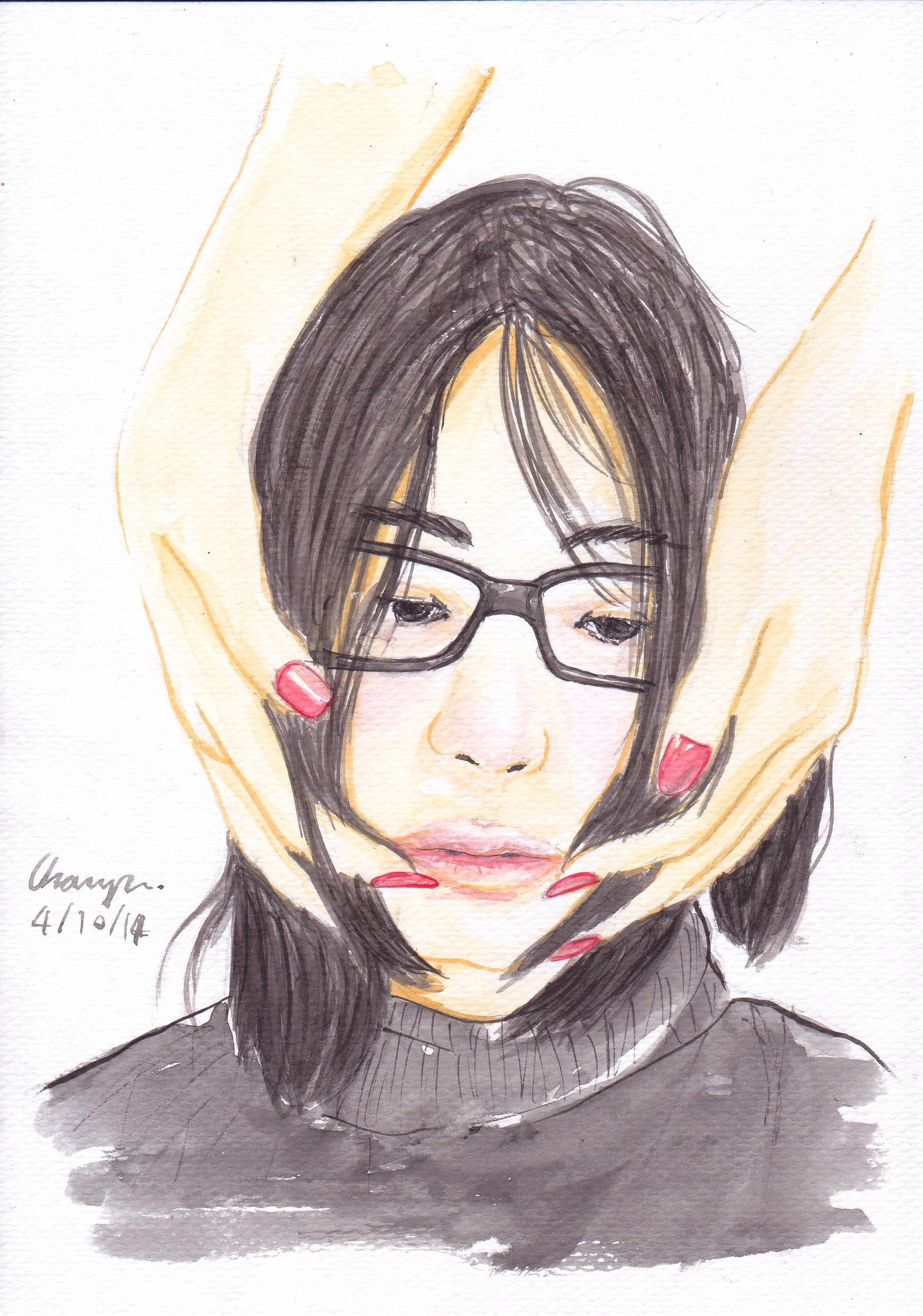 Gambar Potret Wanita Lukisan Menghadapi Sketsa Ilustrasi