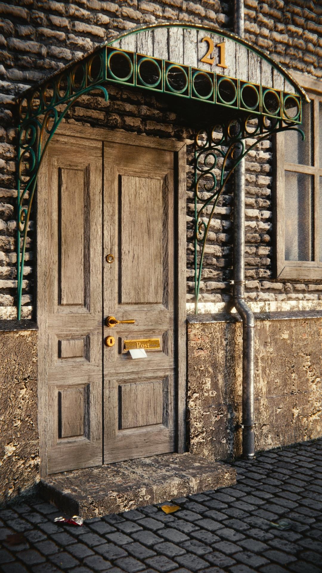 Post Architecture Wood House Window Wall Arch Facade Door Wallet Front Door  Wooden Door 3d Letters