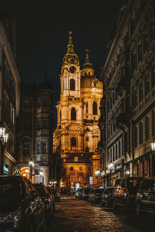 Urban Area At Night Free Images : prague, ...