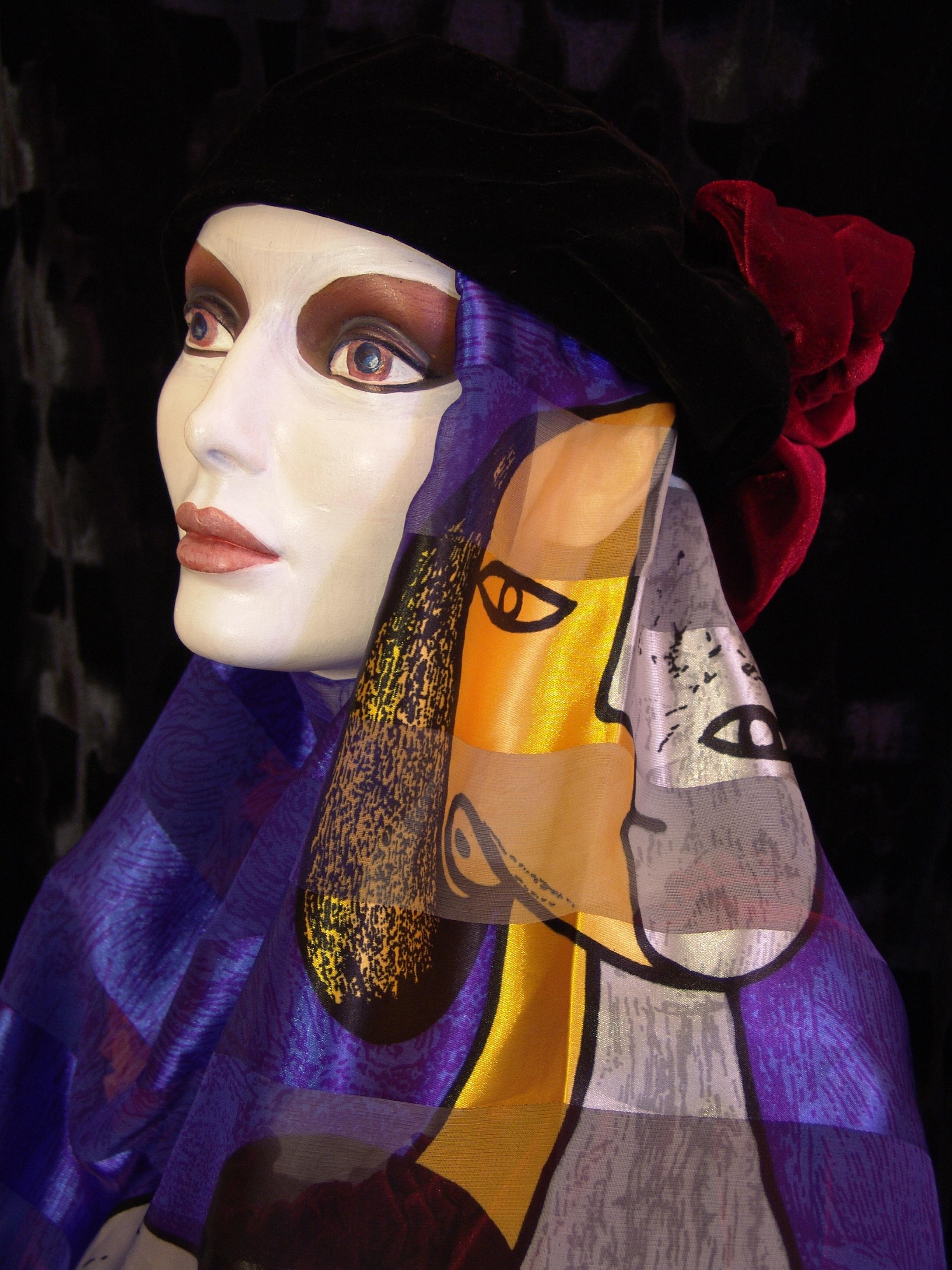 ungu warna topi mode biru pakaian hitam kuning wanita cosplay kostum picasso topi hitam Manekin wanita