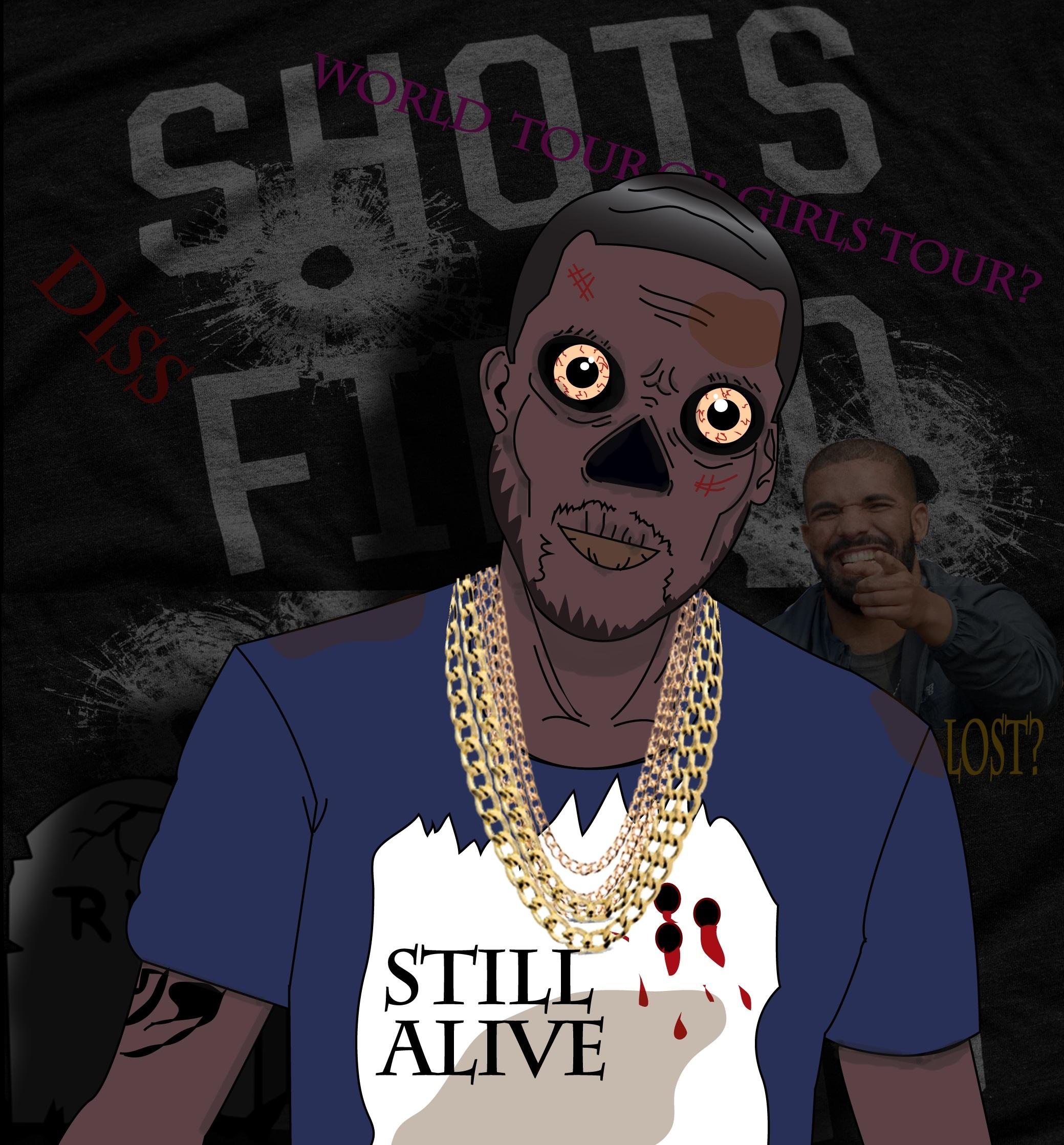 Gambar Rapper Zombie Fiksi Ilustrasi Poster Gambar Kartun