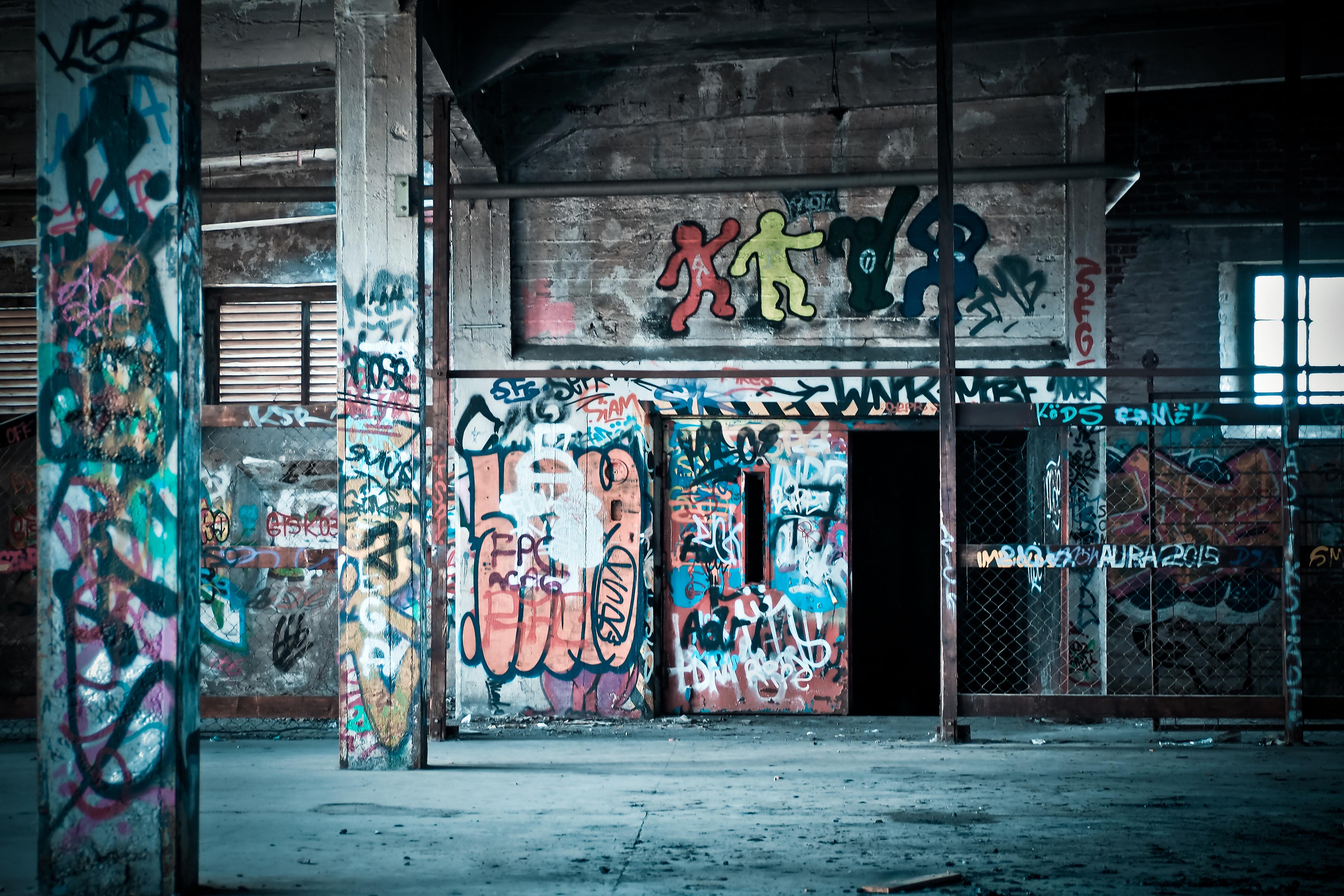 Road street building wall color abandoned graffiti painting street art art vandalism infrastructure dilapidated metropolis urban