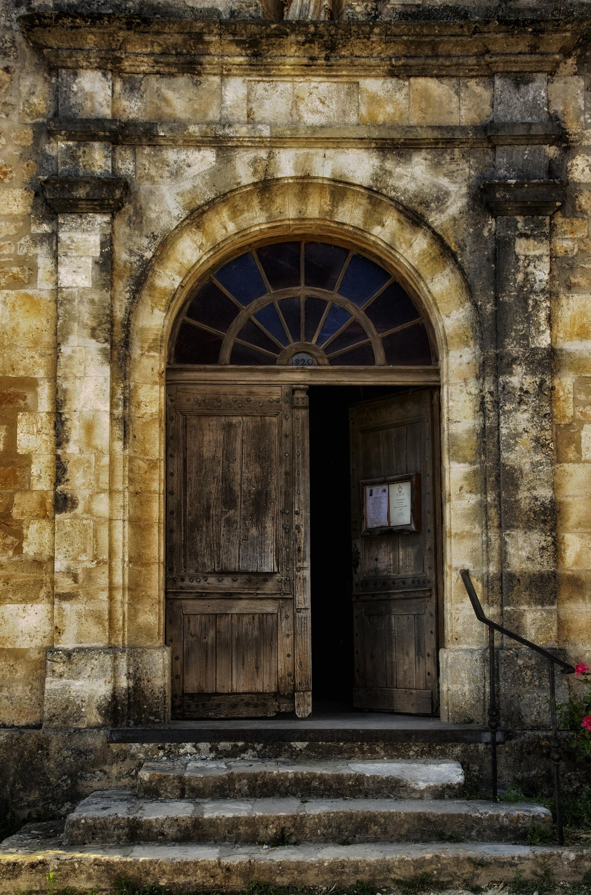 Rock Architecture Wood Window Building Old Wall France Arch Entrance Facade  Church Chapel Brick Door Doorway