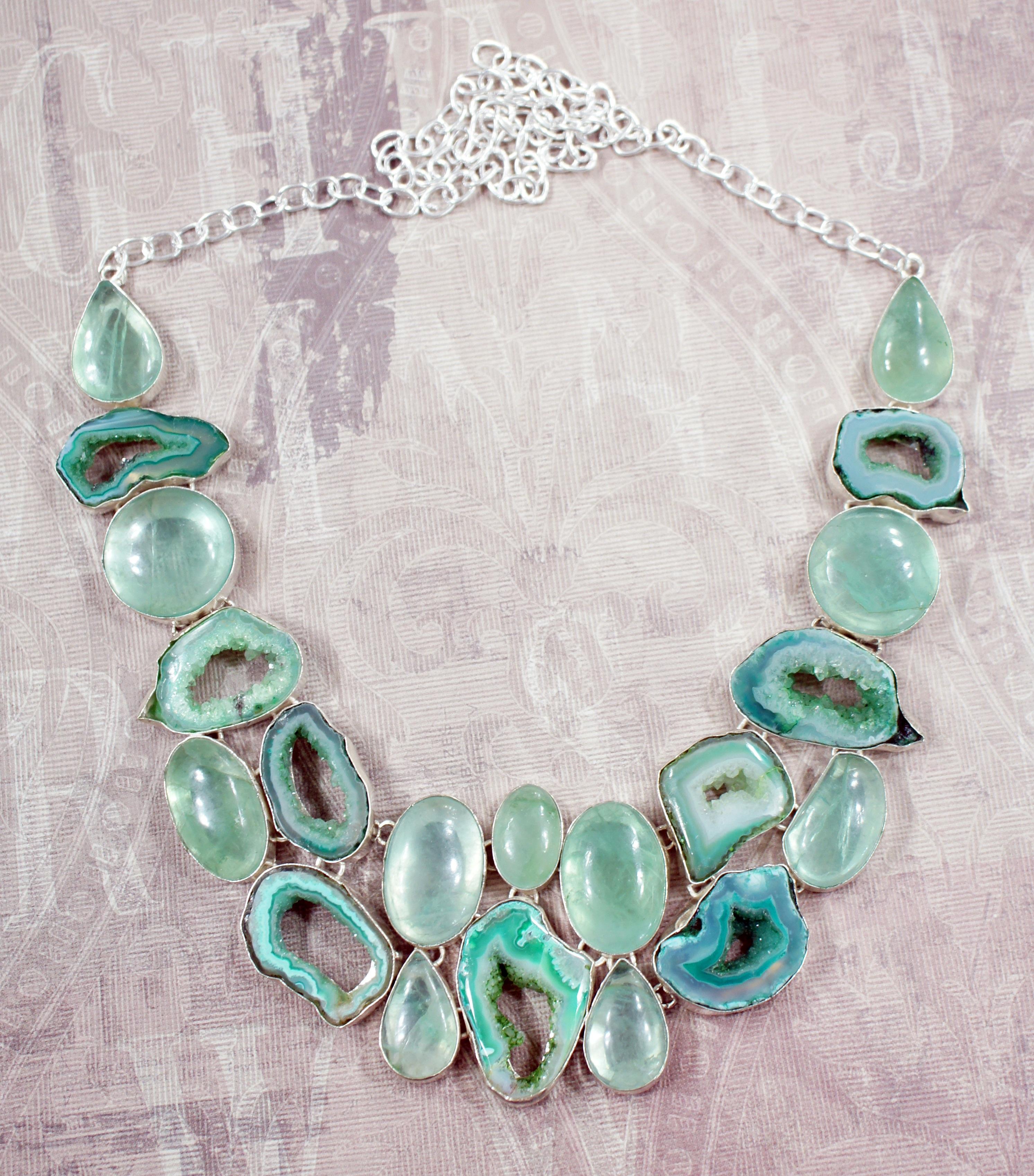 Gambar Rantai Hijau Alam Titisan Perhiasan Kalung Aqua 1 Set Perak Pirus Buatan Tangan Besar Batu Permata Kristal Geode Murni Mineral Kuarsa
