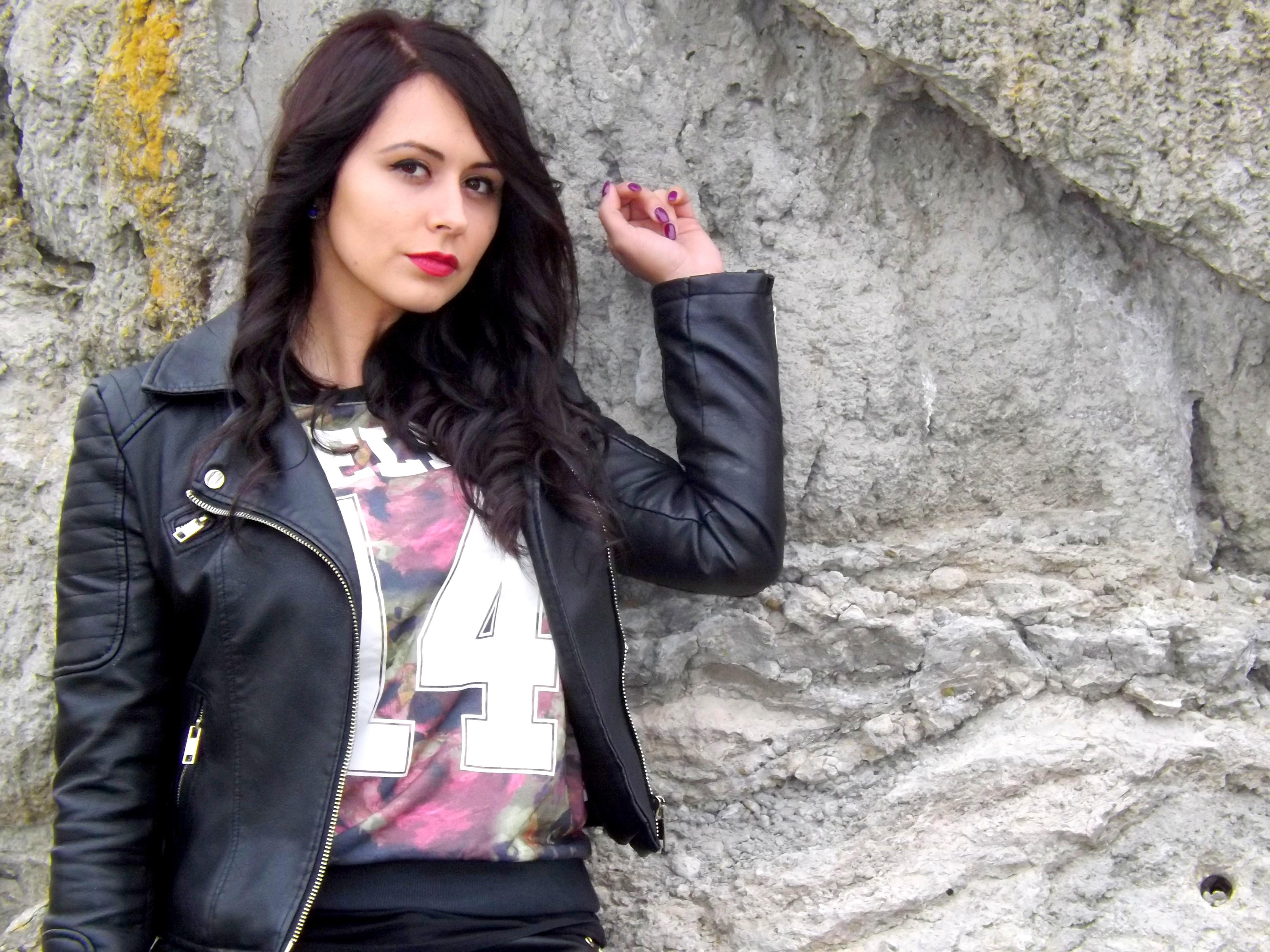 30a928274f rock niña cuero pierna pelaje morena modelo primavera Moda ropa negro dama  chaqueta ropa de calle