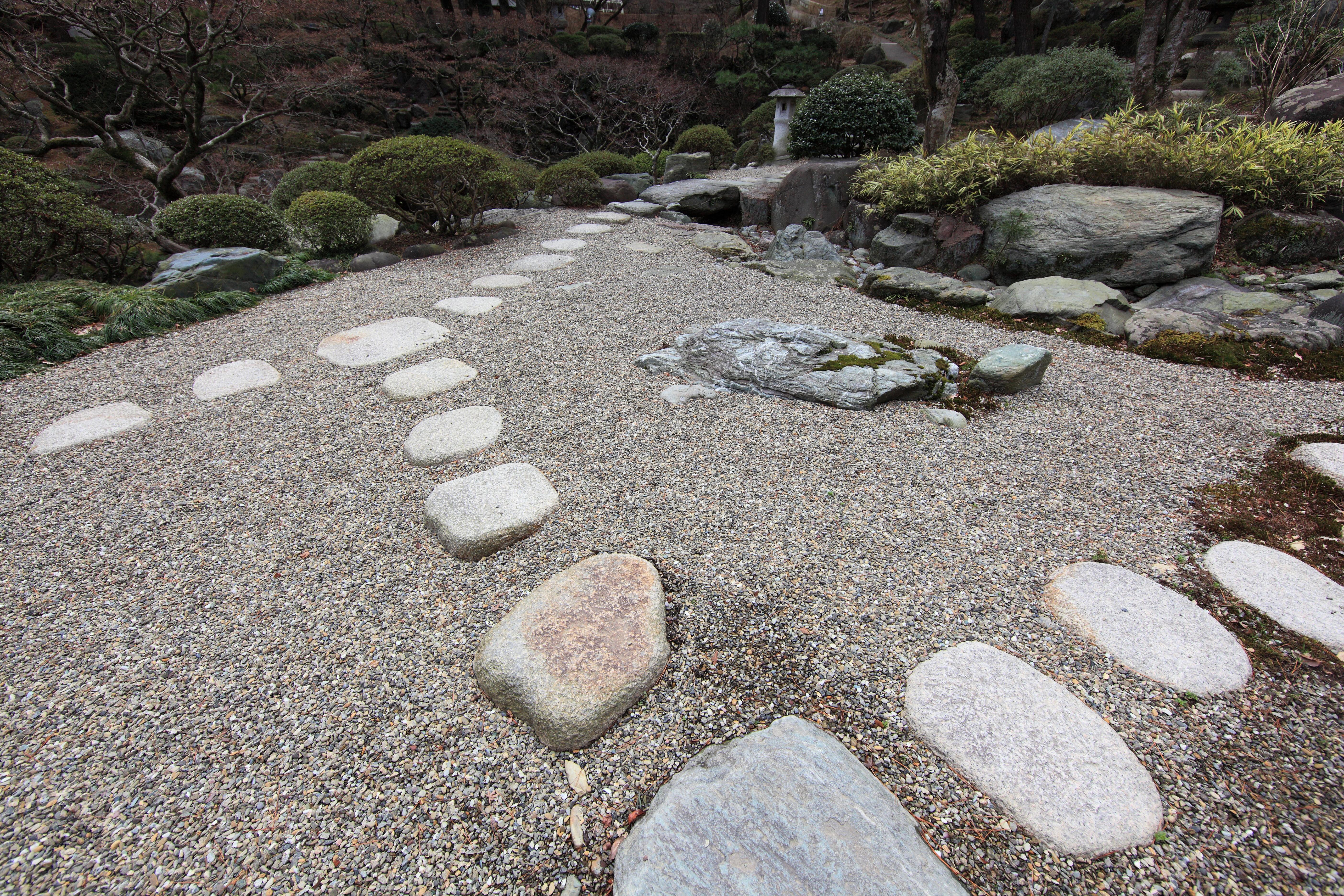 Cour Gravier avec images gratuites : roche, pelouse, pavé, asphalte, passerelle, étang