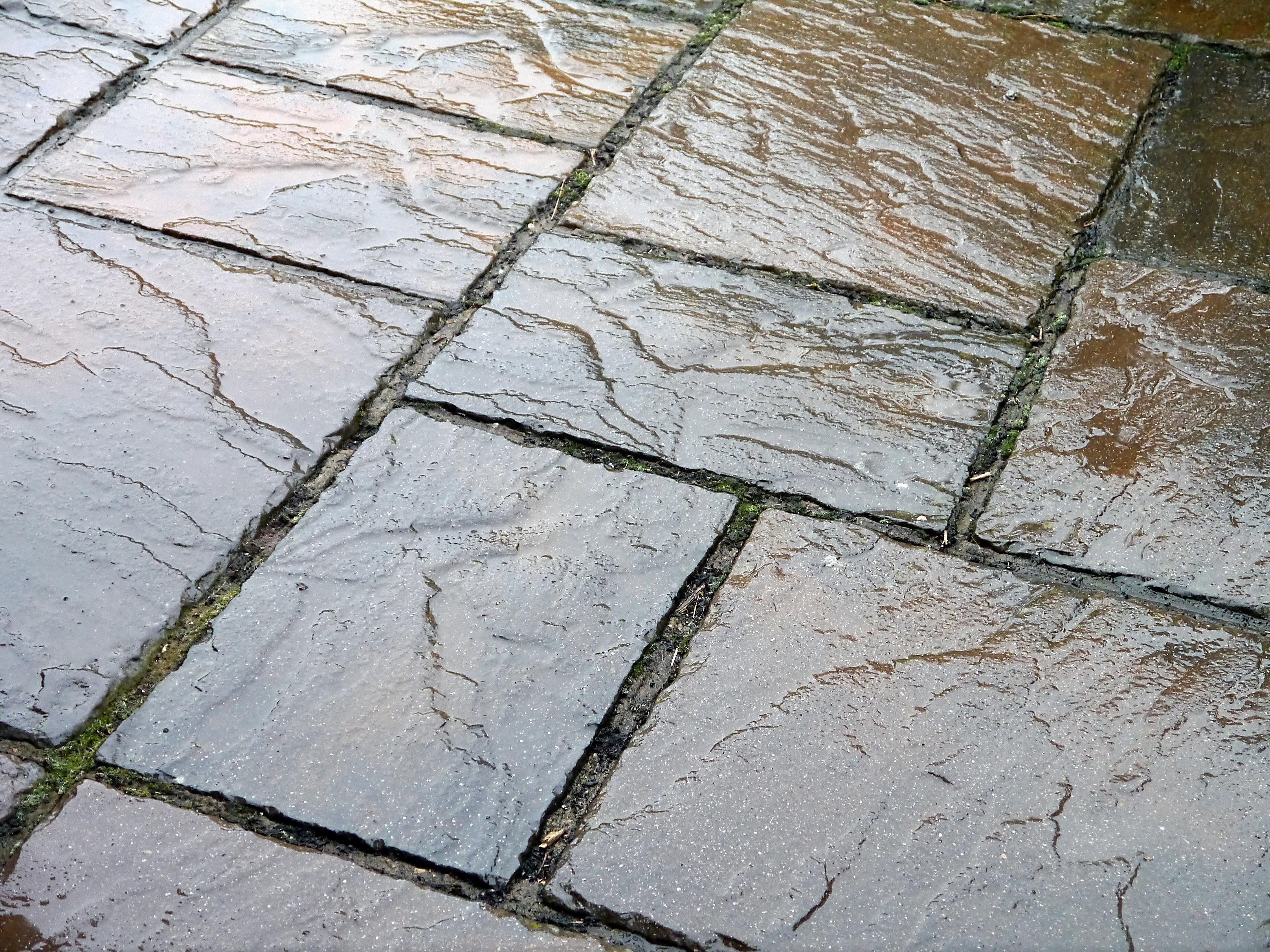 Rock Sidewalk Floor Wet Cobblestone