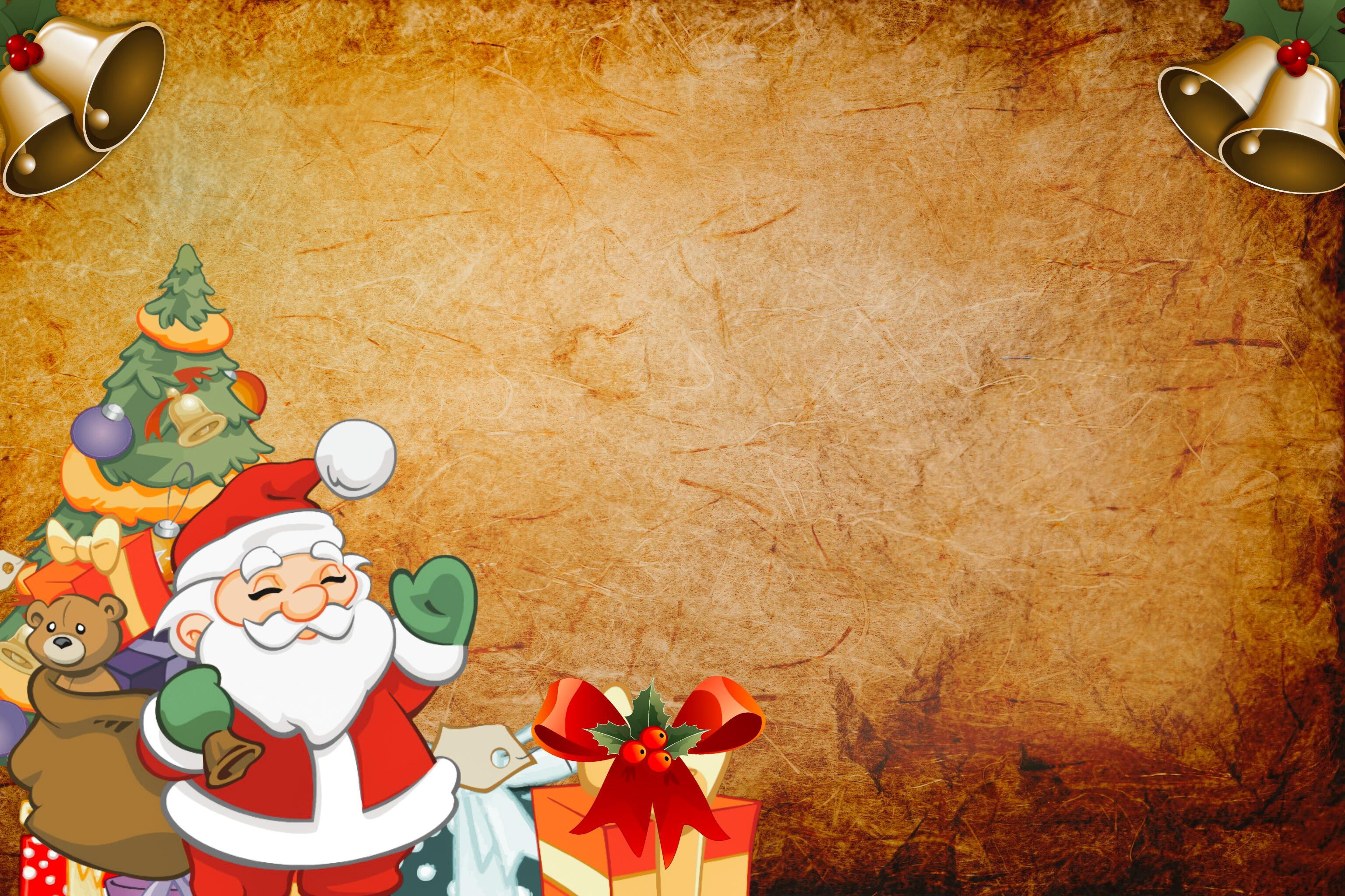 Gambar Santa Claus Latar Belakang Pohon Tahun Baru Hari