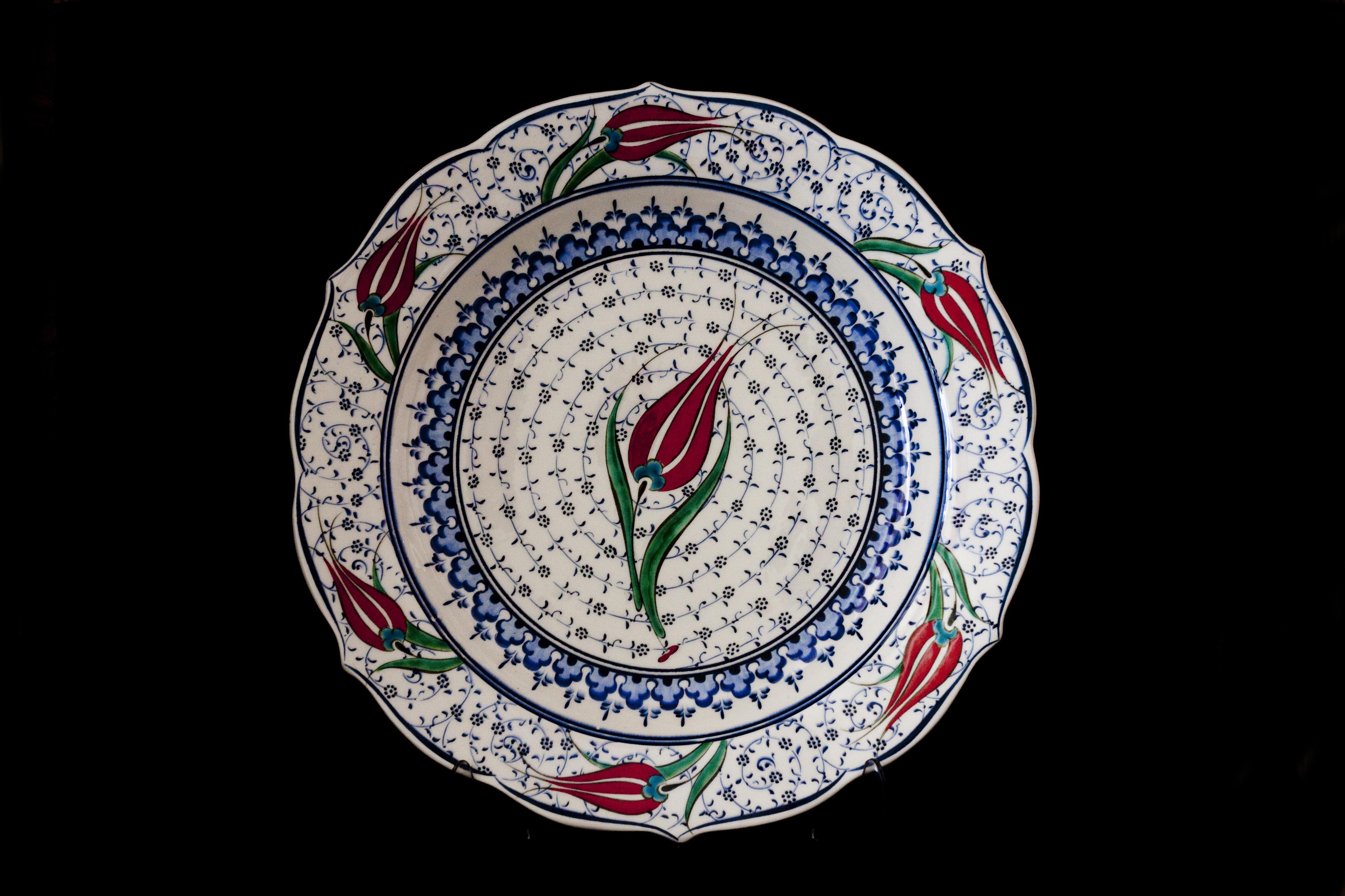 b4b6b68cbeee csészealj kerámiai lemez csempe teríték anyag kör termék betűtípus  Törökország porcelán tál kézműves megnövekedett étkészlet kék