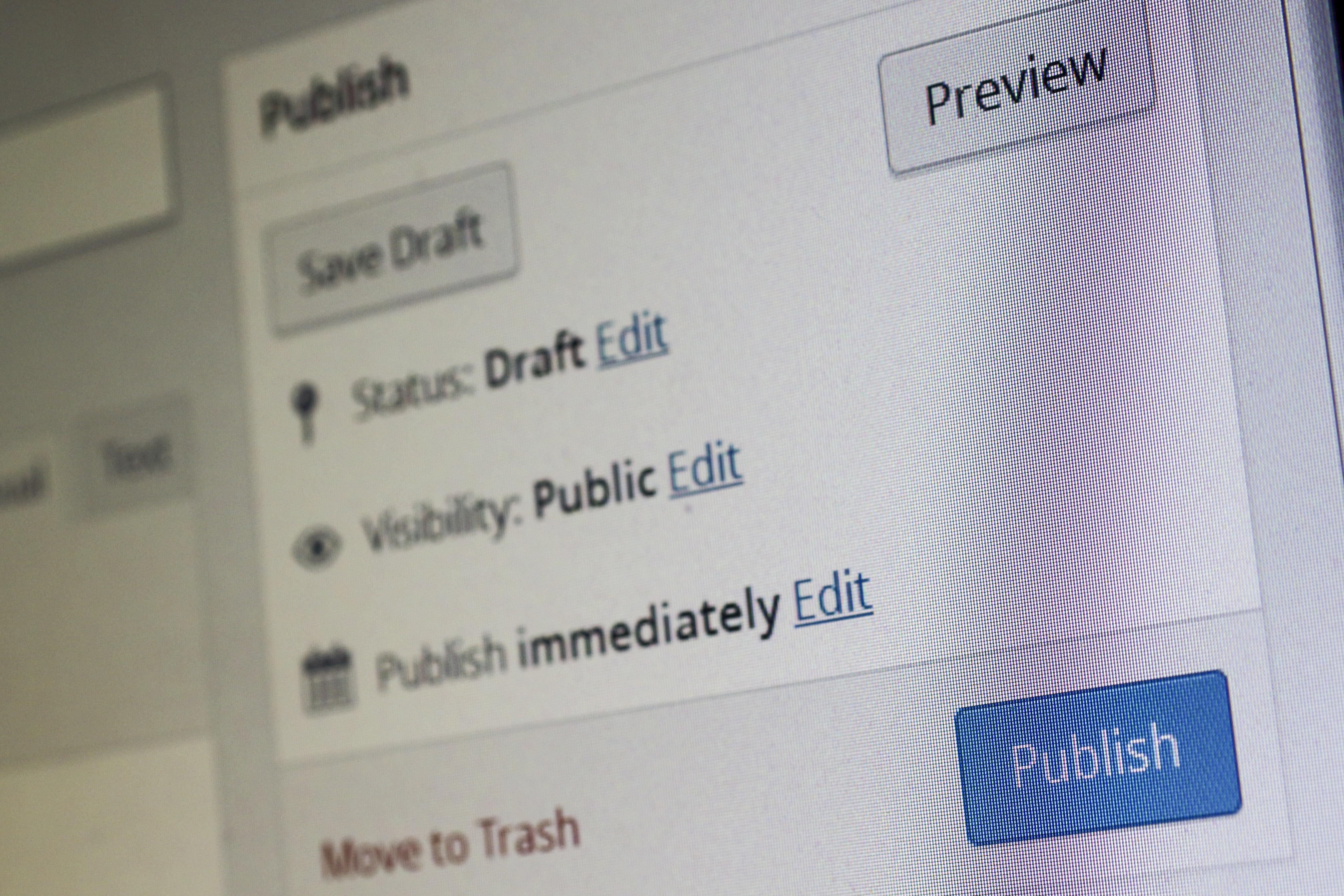 screen post web internet create brand product text media wordpress document leave blog content publish upload