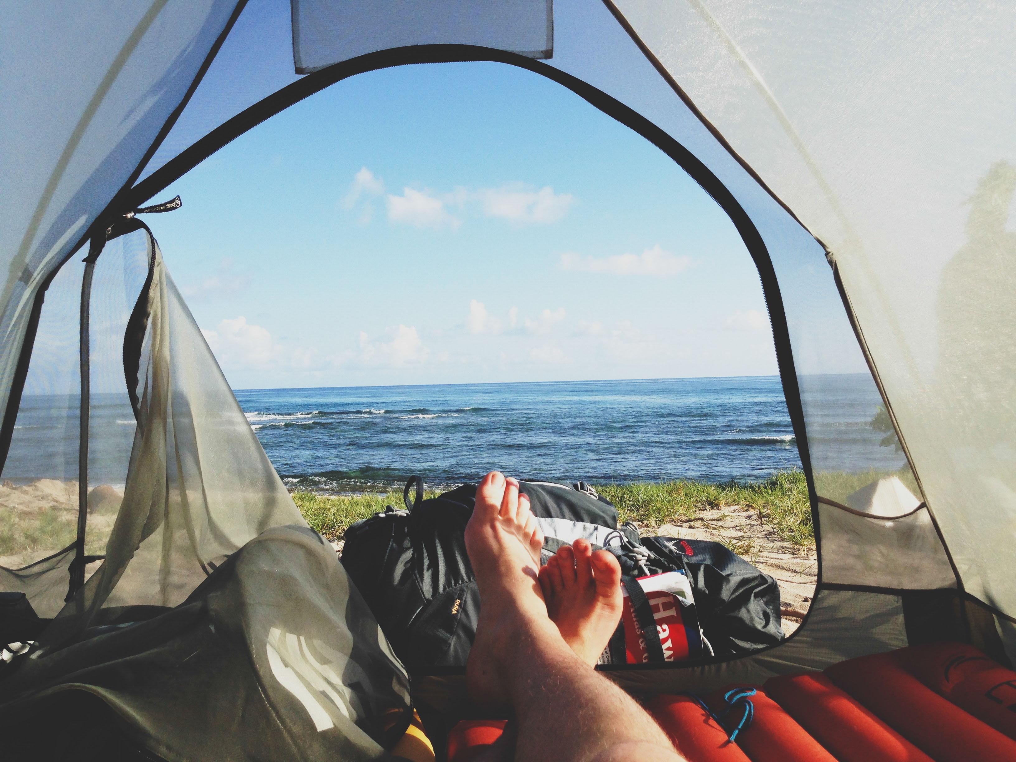 Фото из палатки с девушкой