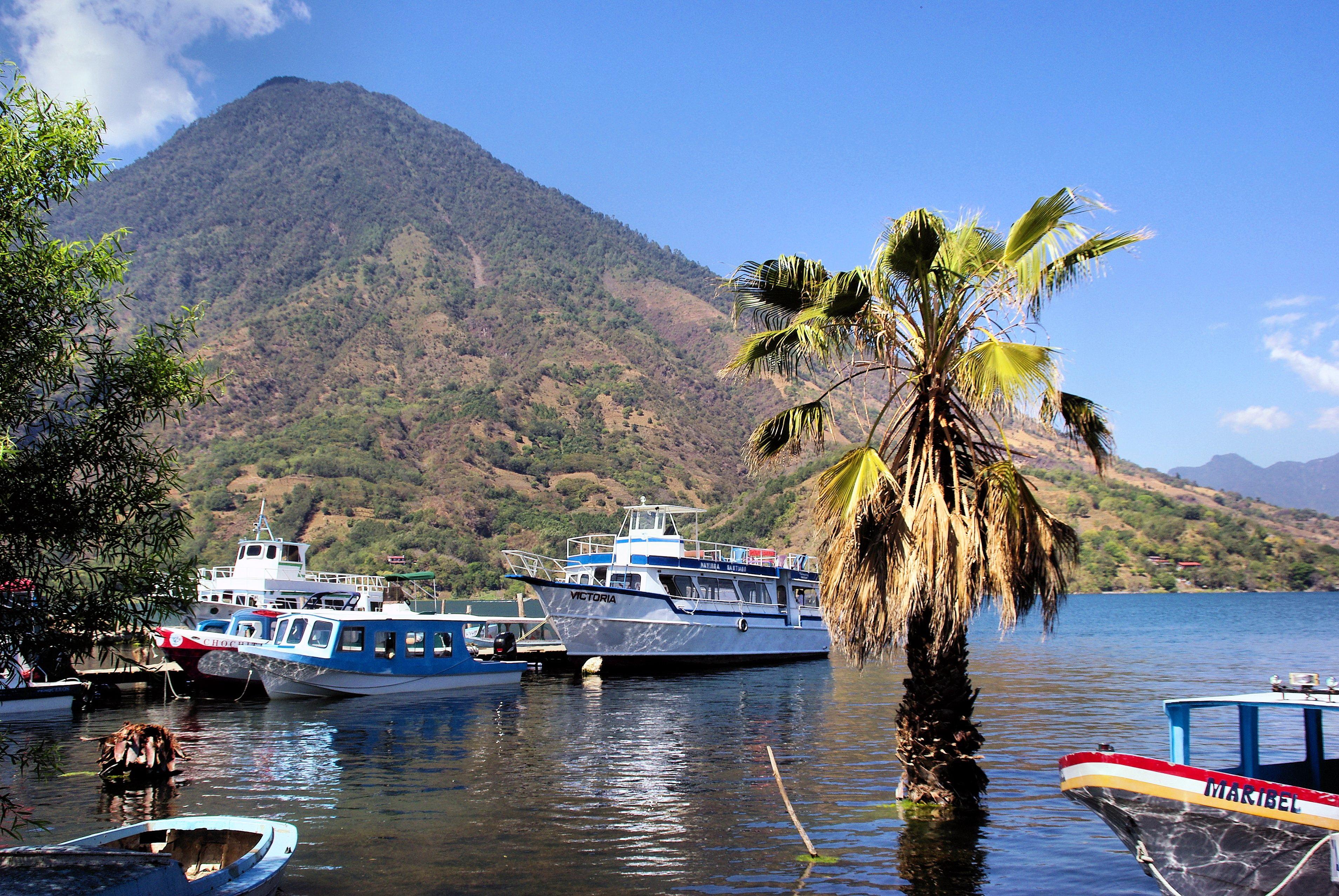 Free Images Sea Coast Boat Vacation Travel Vehicle Volcano - Guatemala vacation