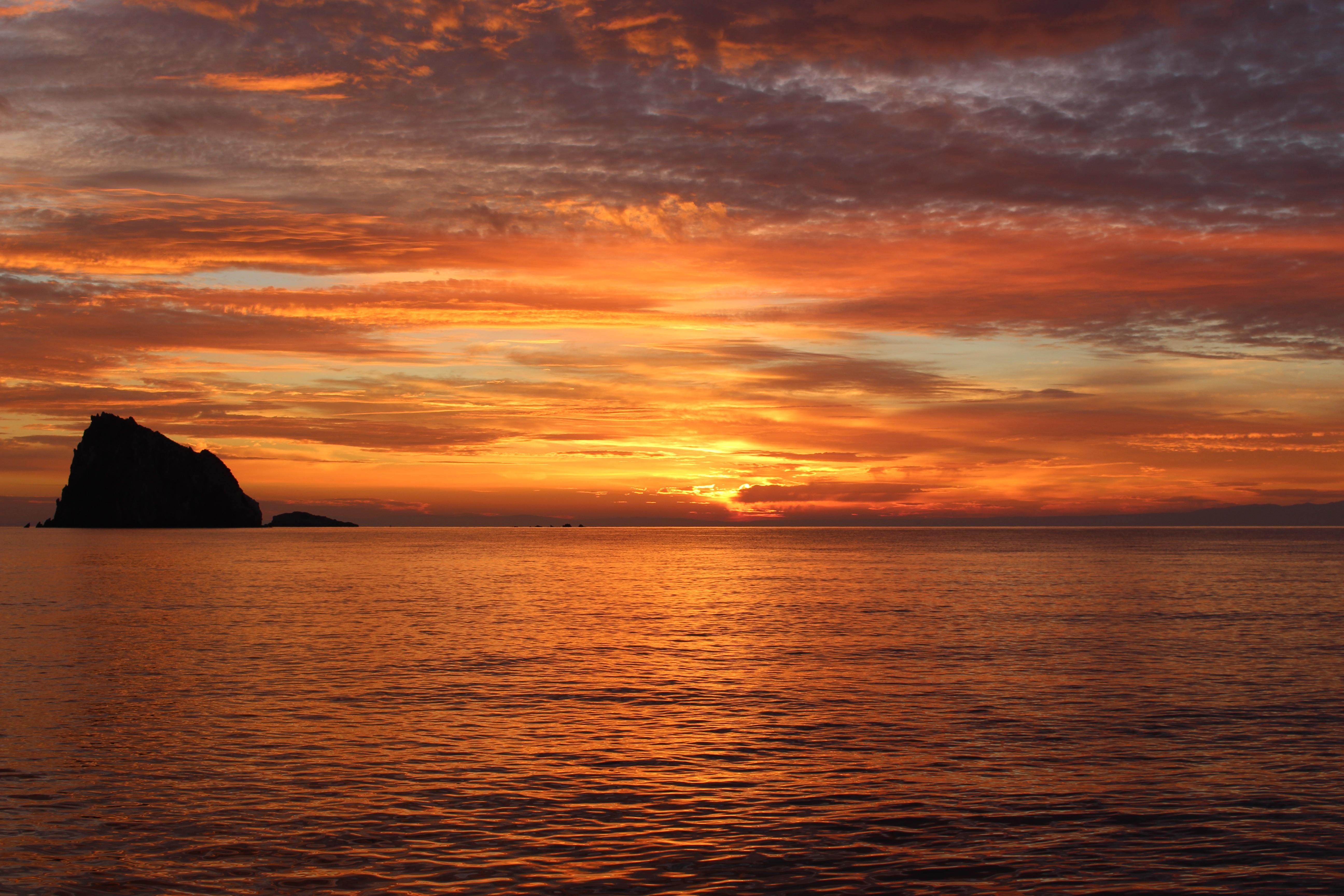 Открытка закат над морем, детские