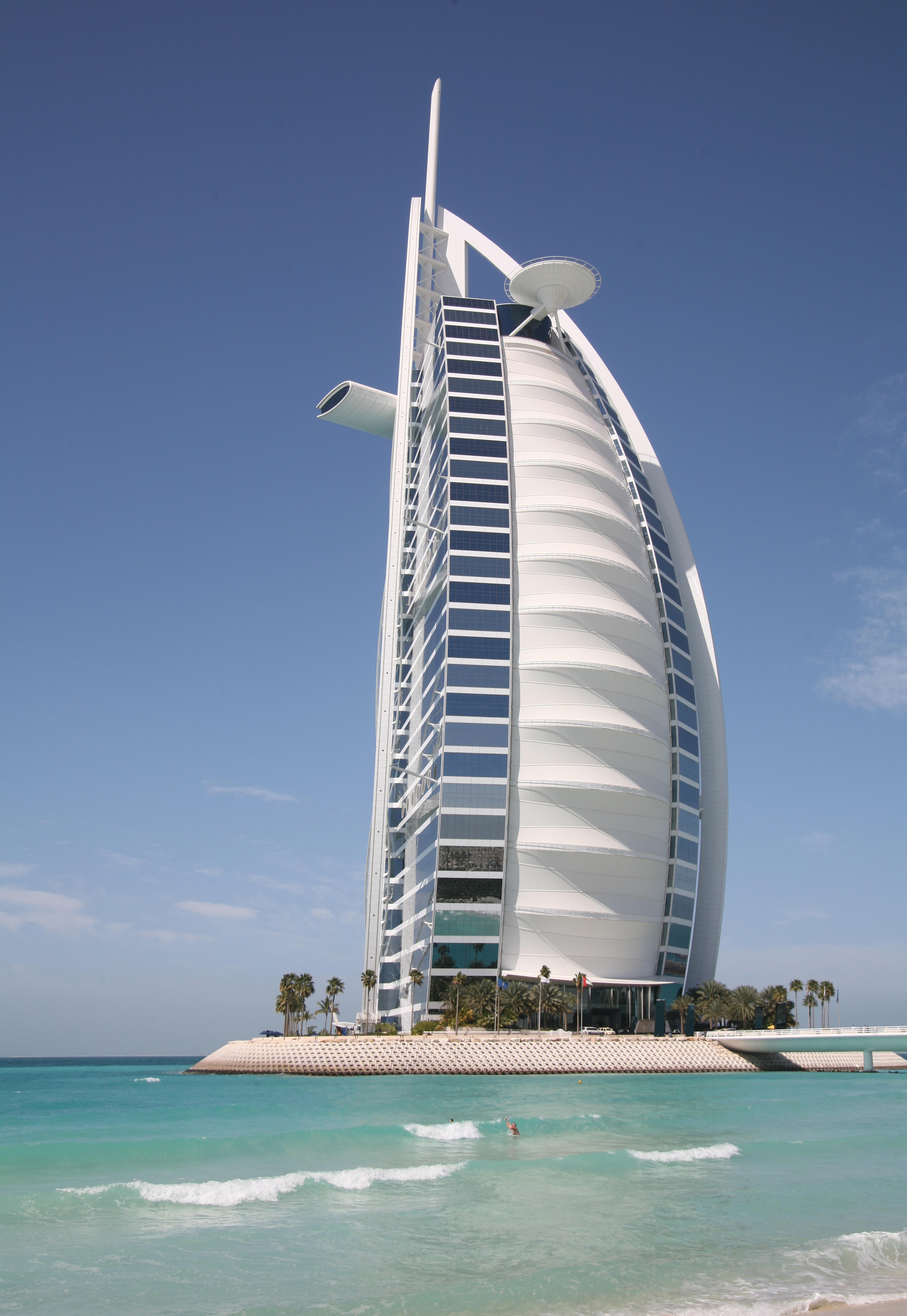 Free images sea dock architecture boat skyscraper for Sailboat hotel dubai
