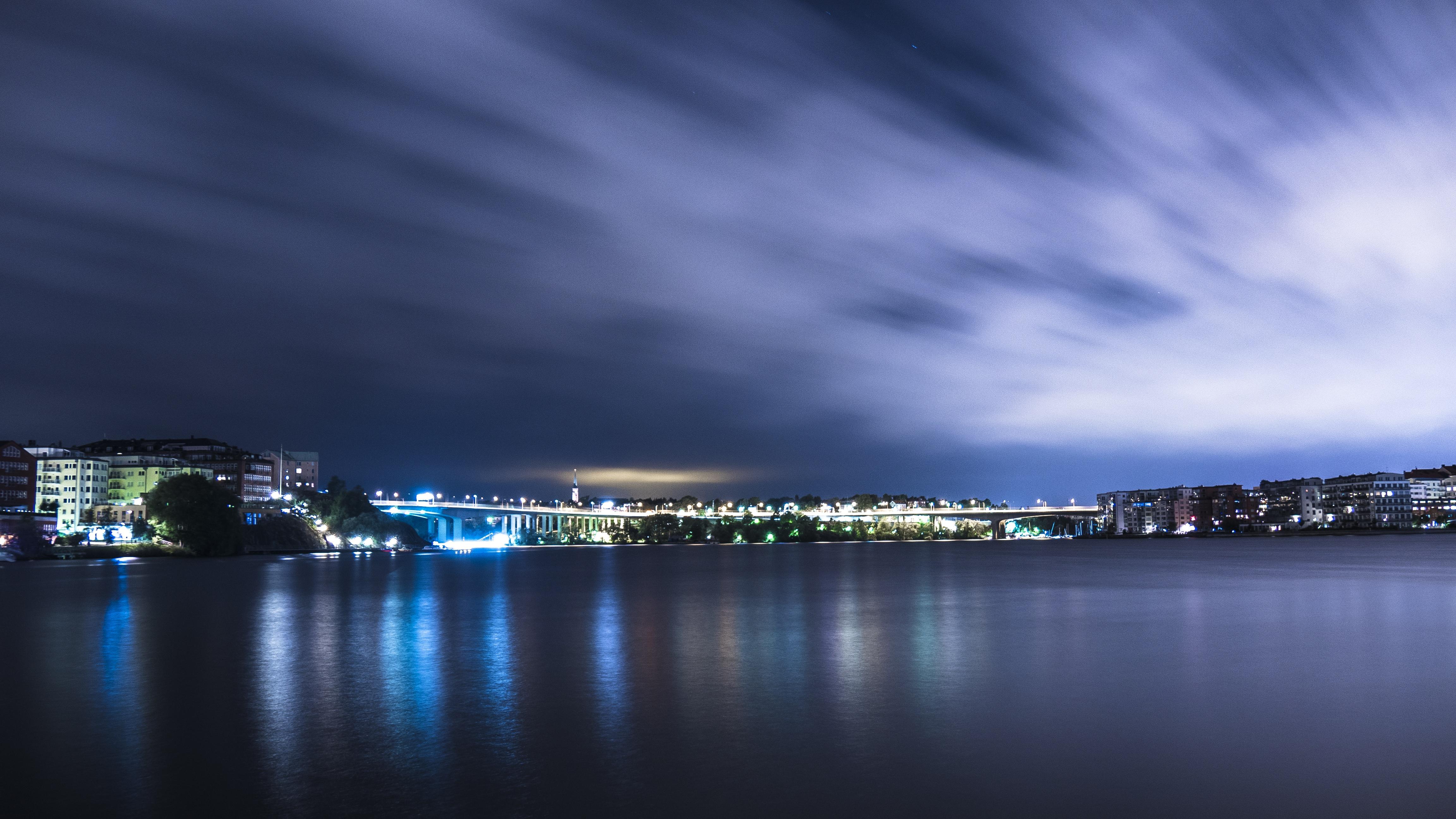 Обои огни, Город, Пейзаж, небоскребы, ночь. Города foto 19