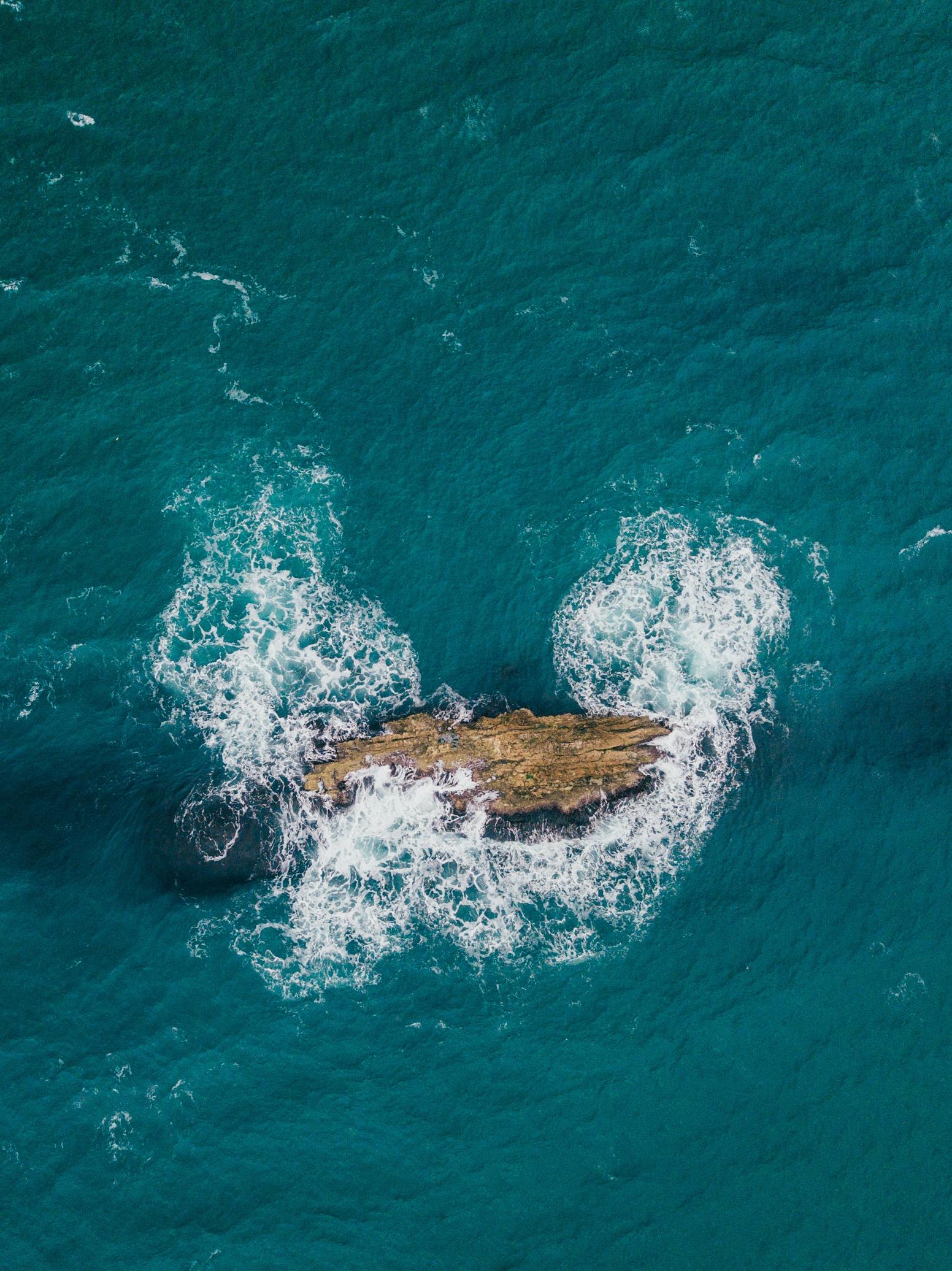 Sea Water Rock Ocean Wave Aerial View Drone Cool Image Photo Wind Marine