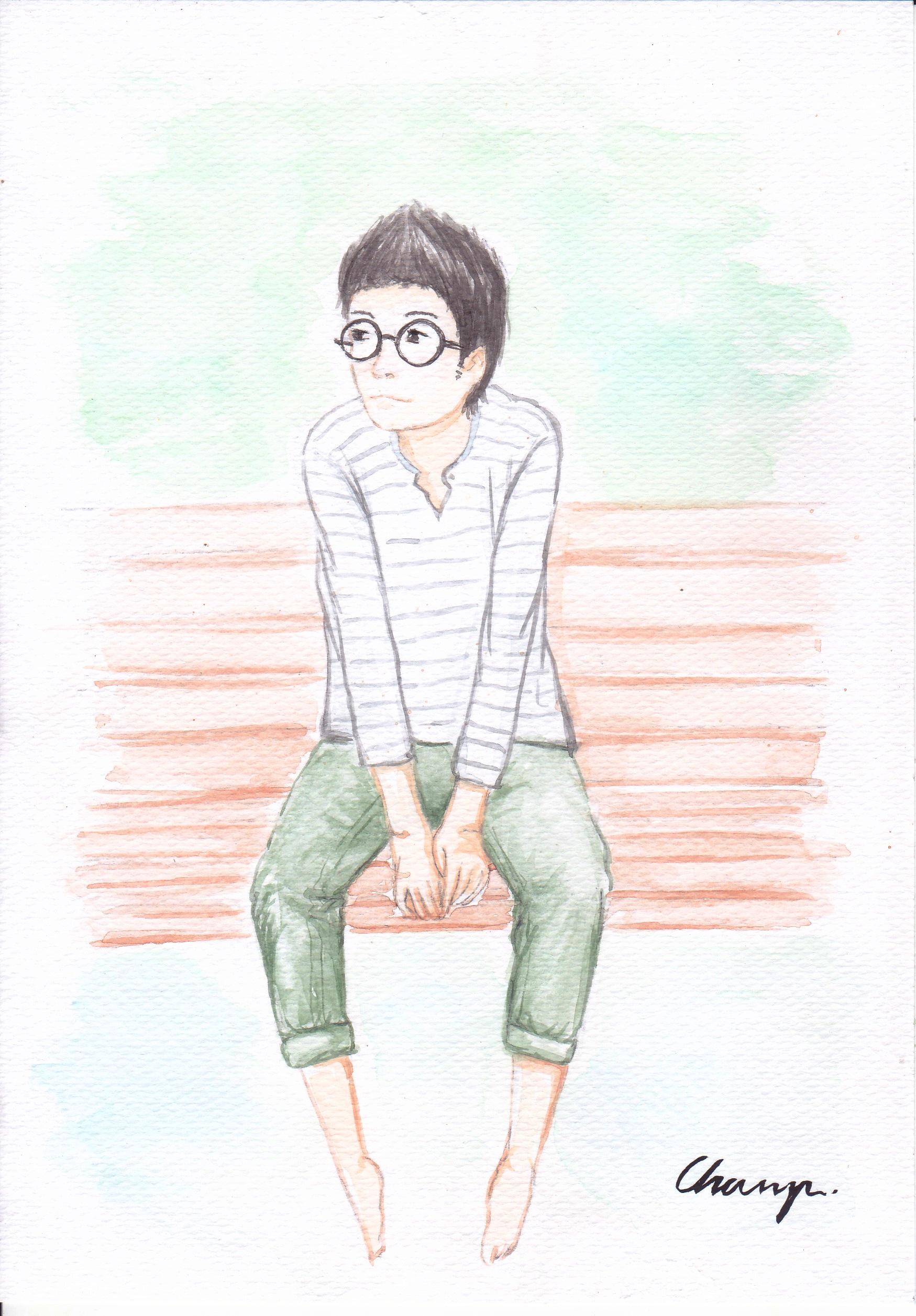 Gambar Kursi Muda Lukisan Sketsa Ilustrasi Anak Laki Laki