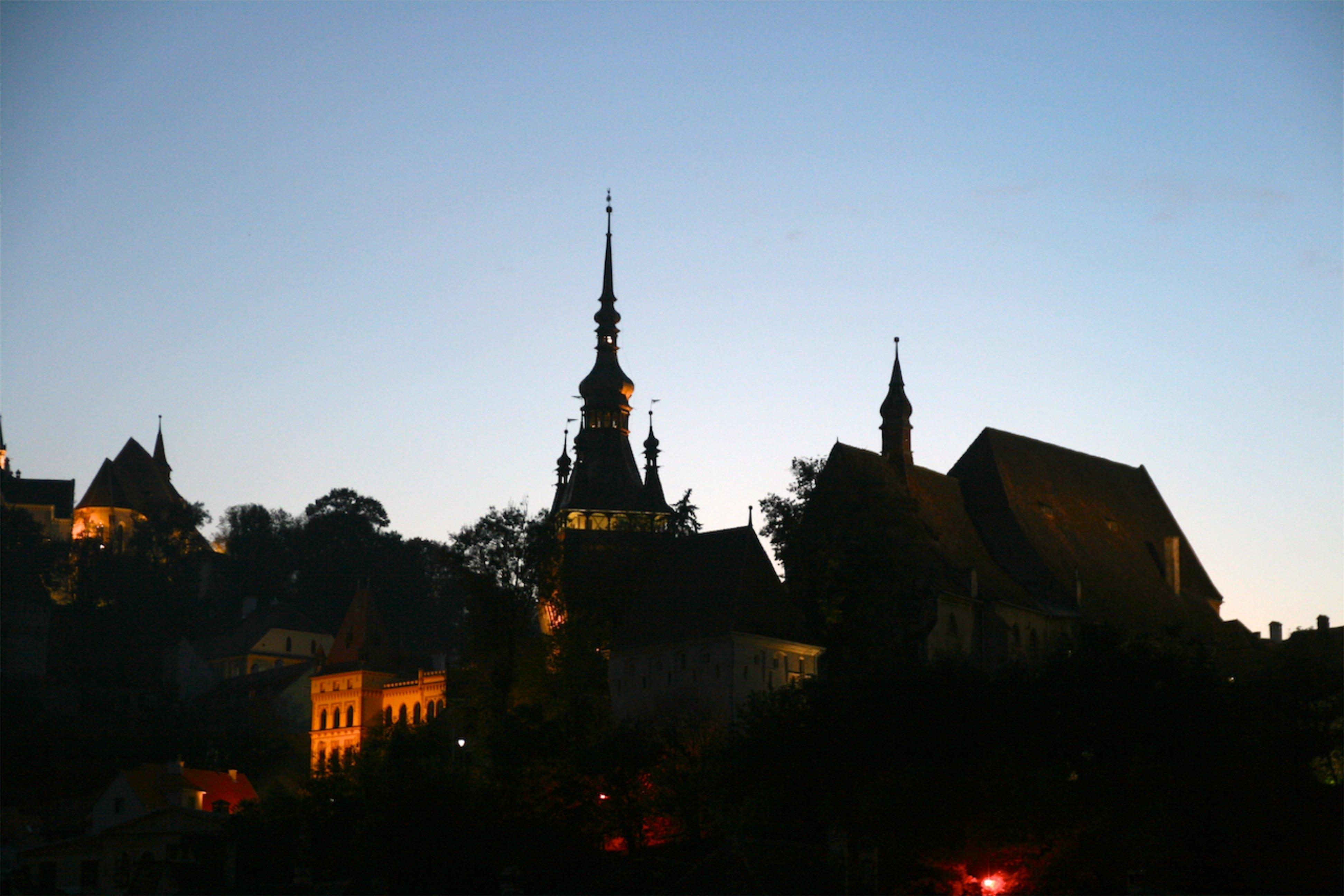Silhouette Architecture Sky Sunset Skyline Night City Cityscape Dusk Evening Orange Tower Castle Landmark Church Black