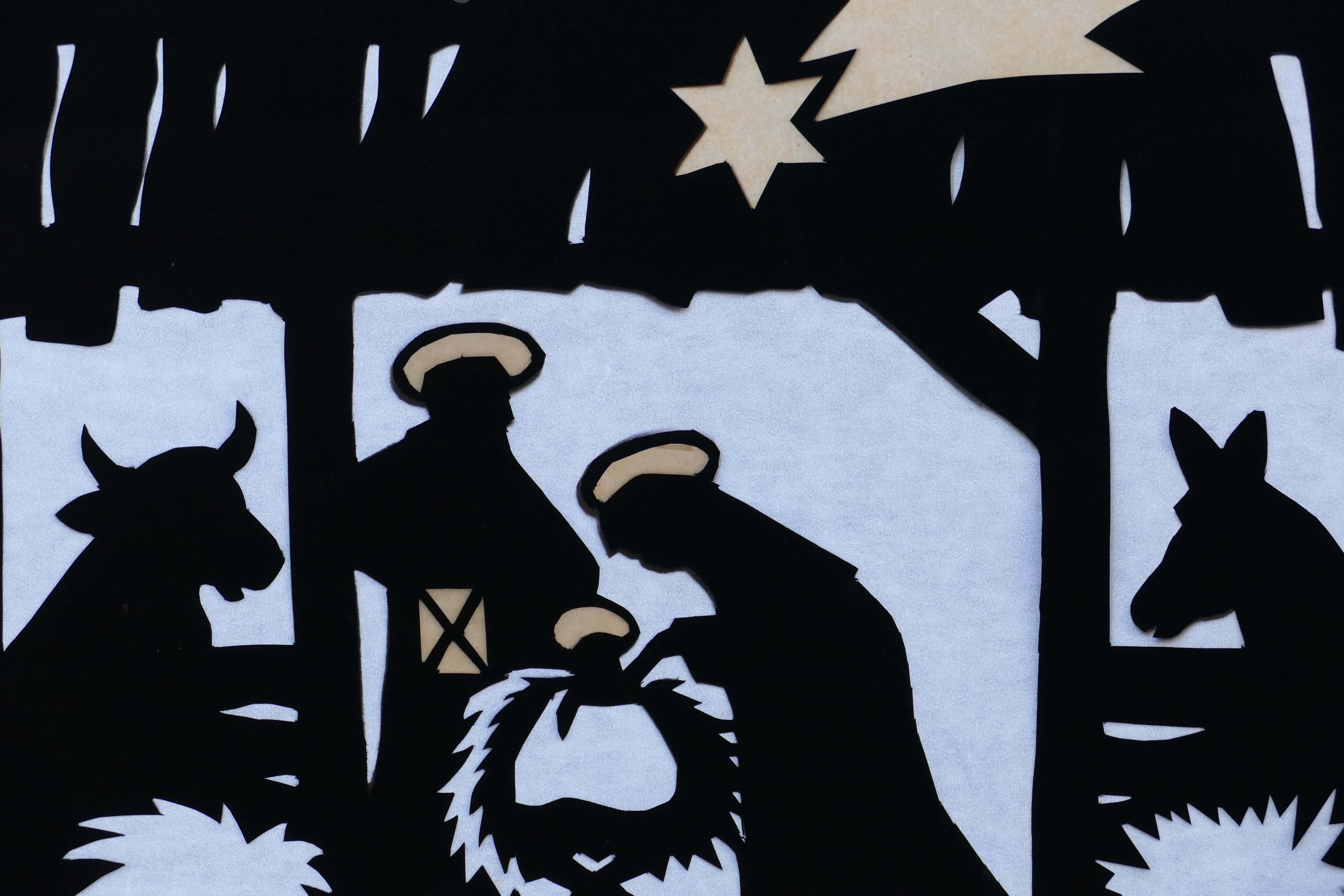 Dibujos De Navidad Con Jesus.Fotos Gratis Silueta Pajaro Estrella Negro Burro