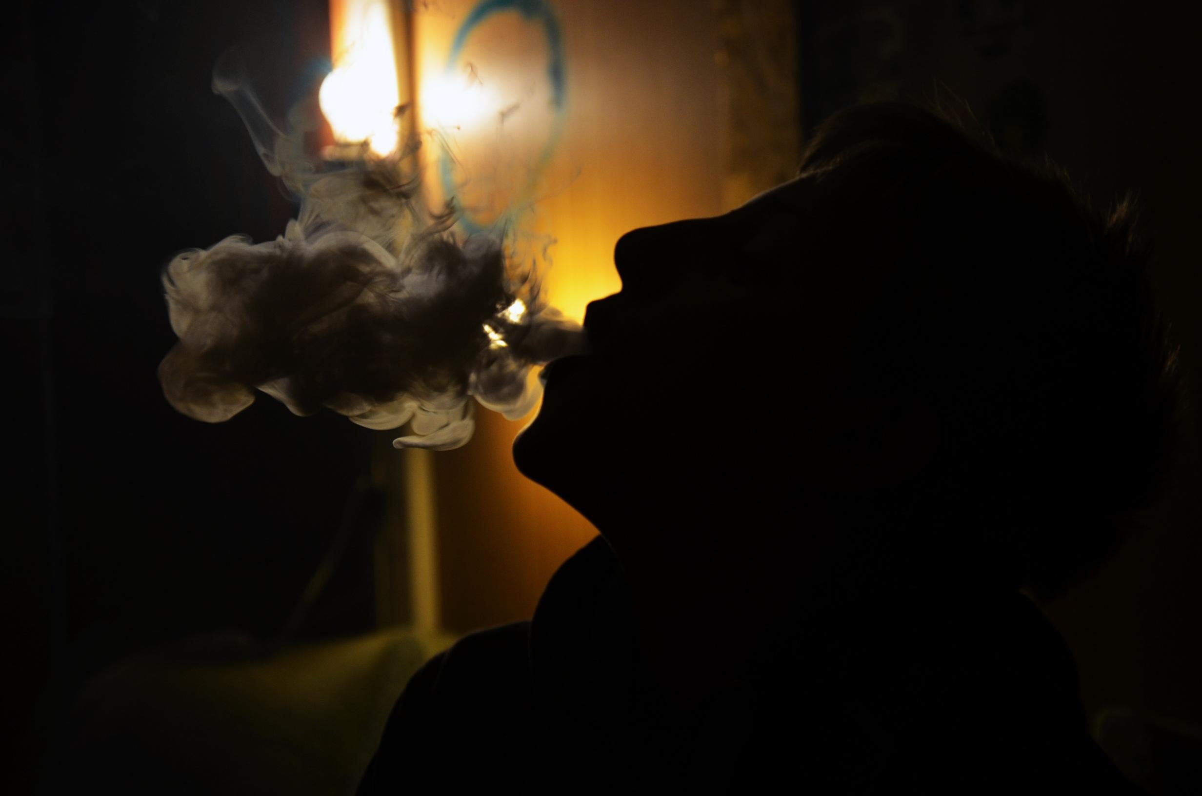 Silhouette Light Night Boy Smoke