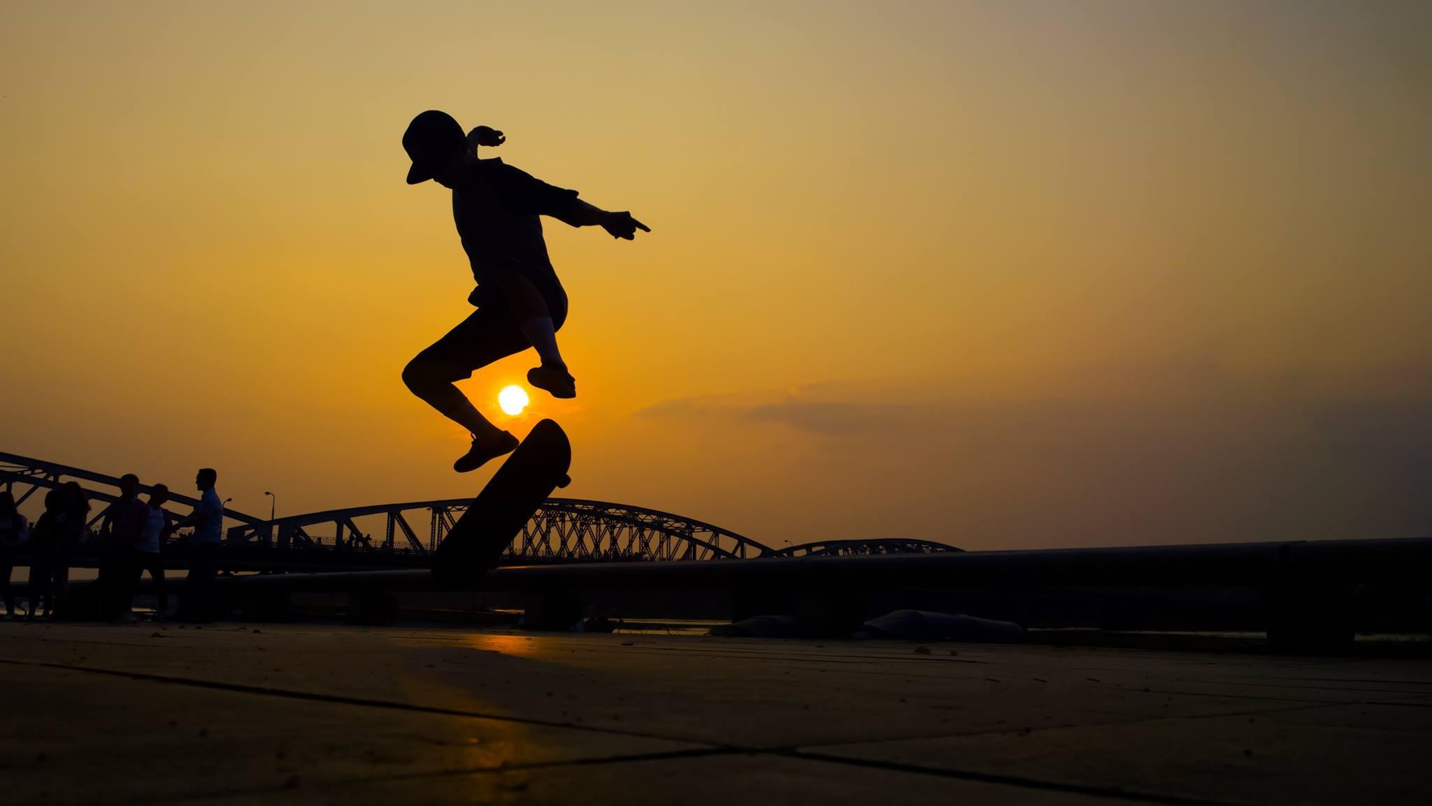 Free Images : silhouette, sunset, morning, skateboard ...