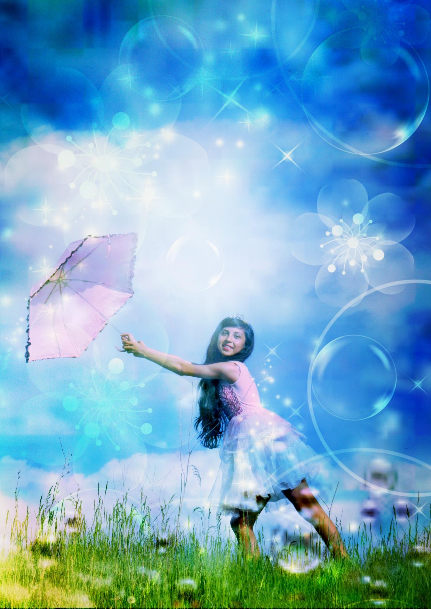 sky girl meadow sunlight flower summer portrait