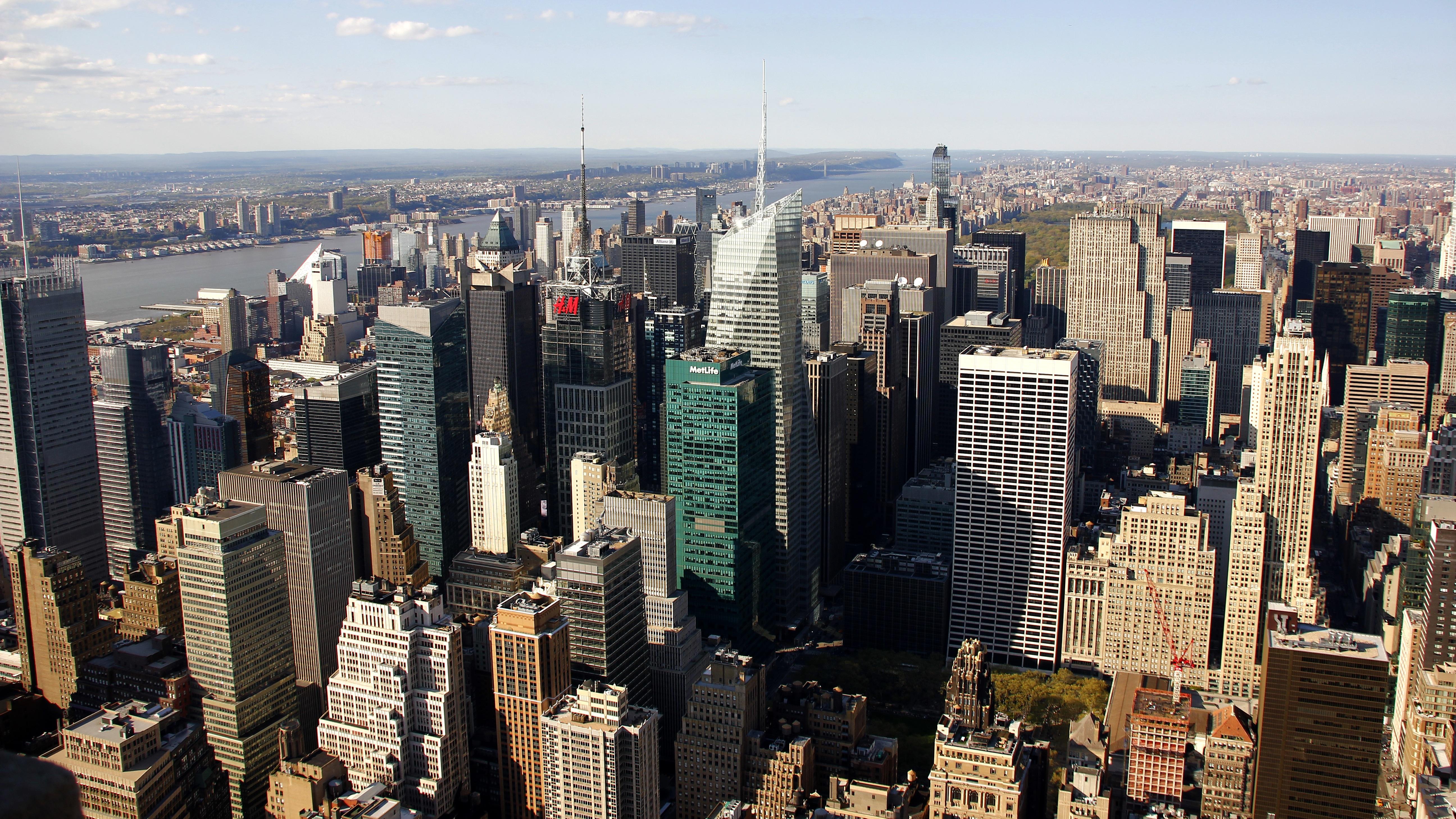 fotos gratis cielo horizonte rascacielos nueva york manhattan paisaje urbano centro de la ciudad torre estados unidos america