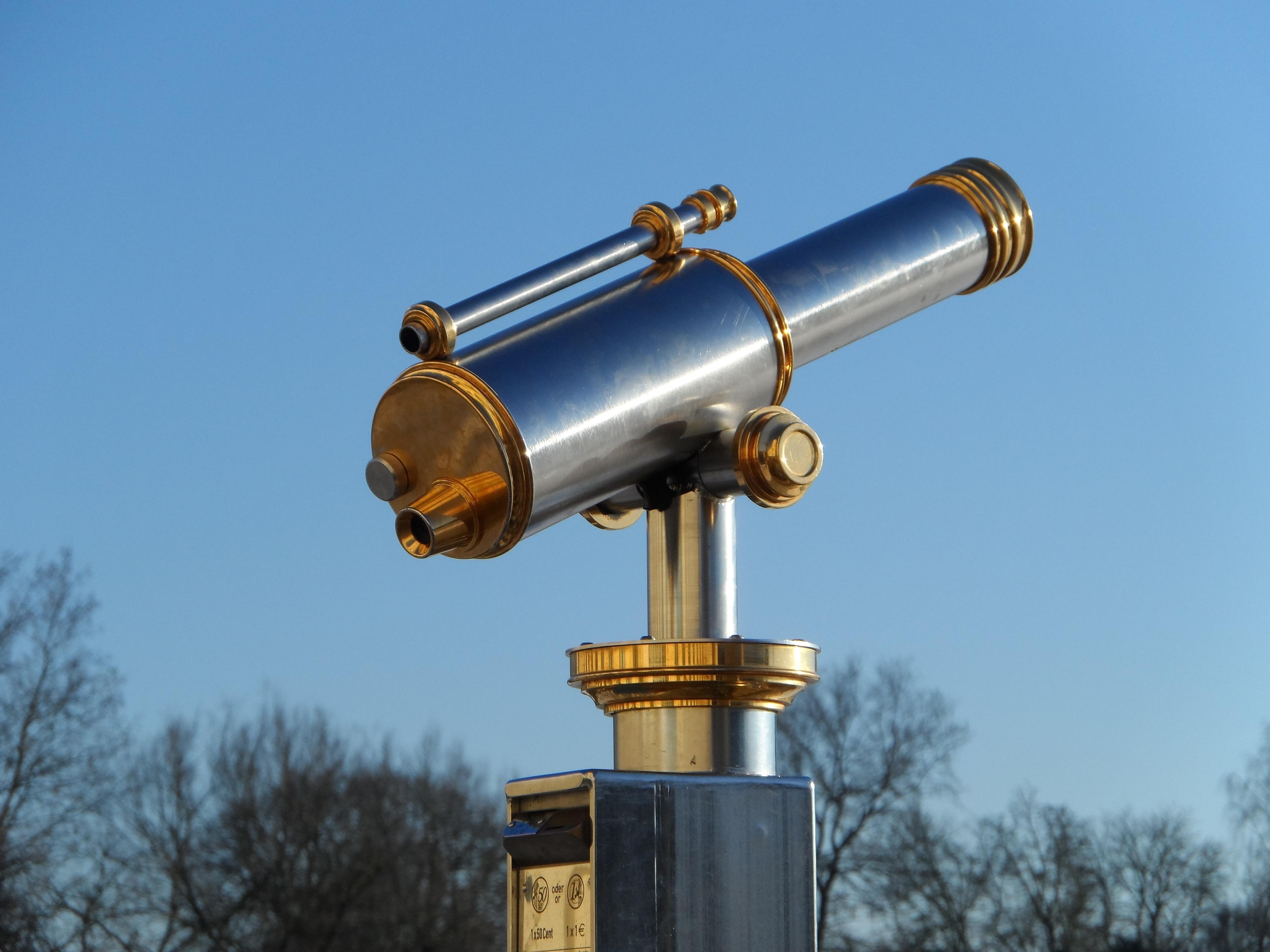 Fotoğraf gökyüzü çelik teleskop makineler aydınlatma optik