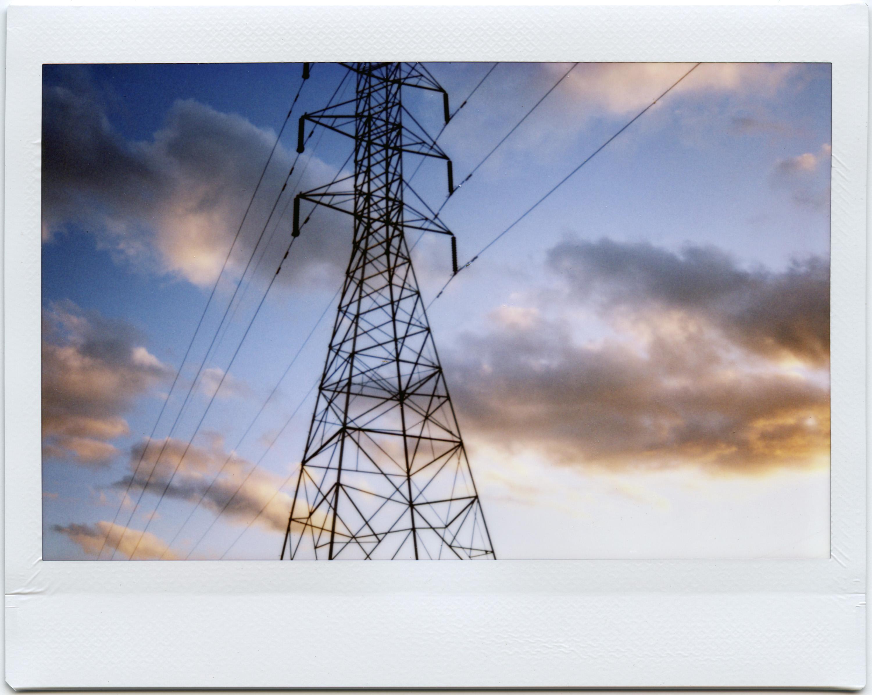 Bầu Trời Hoàng Hôn Gió Fujifilm Tháp Điện Năng Lượng Đám Mây Instax Tức Thời  Sacramento