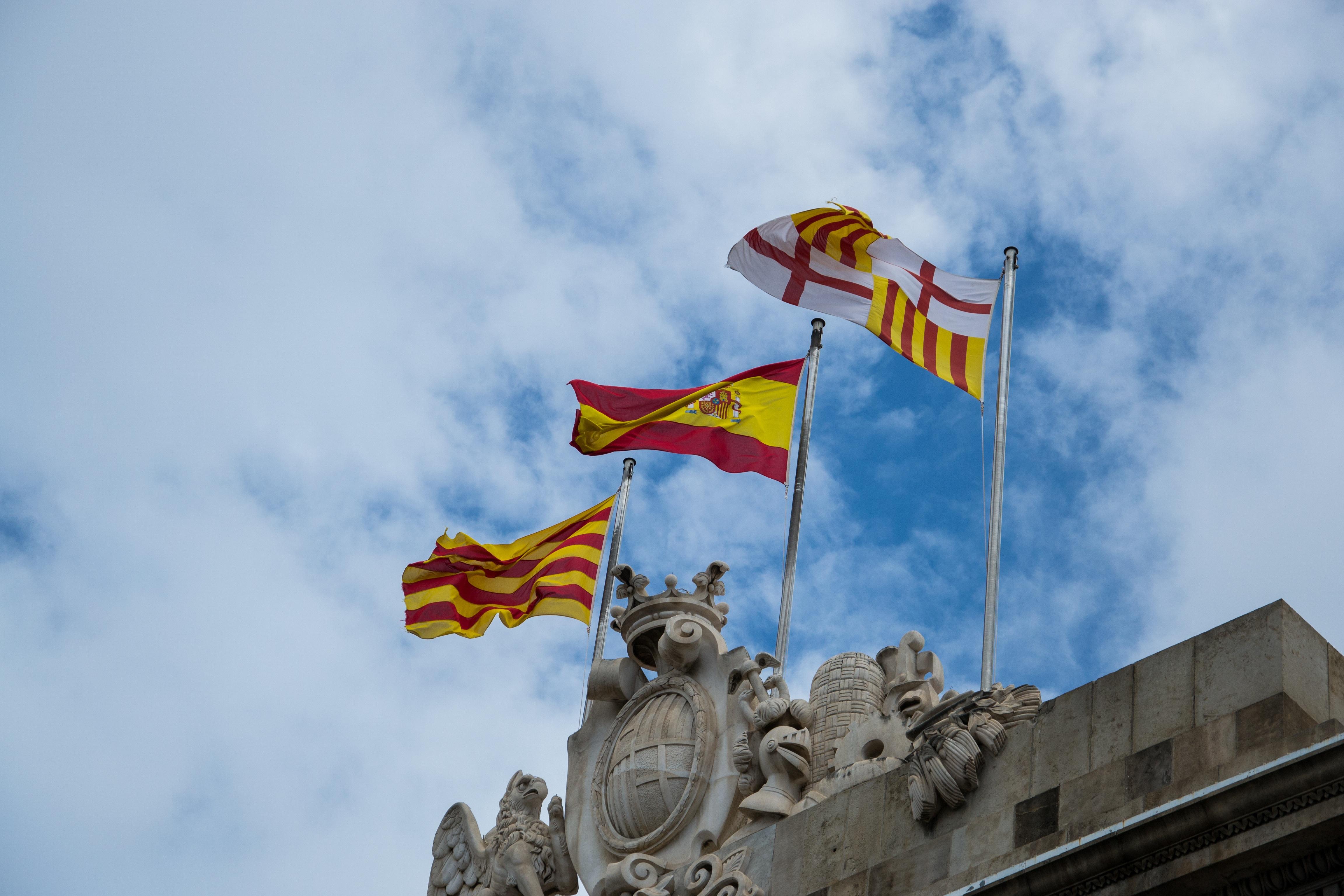 free images sky wind flag blue barcelona spain flags