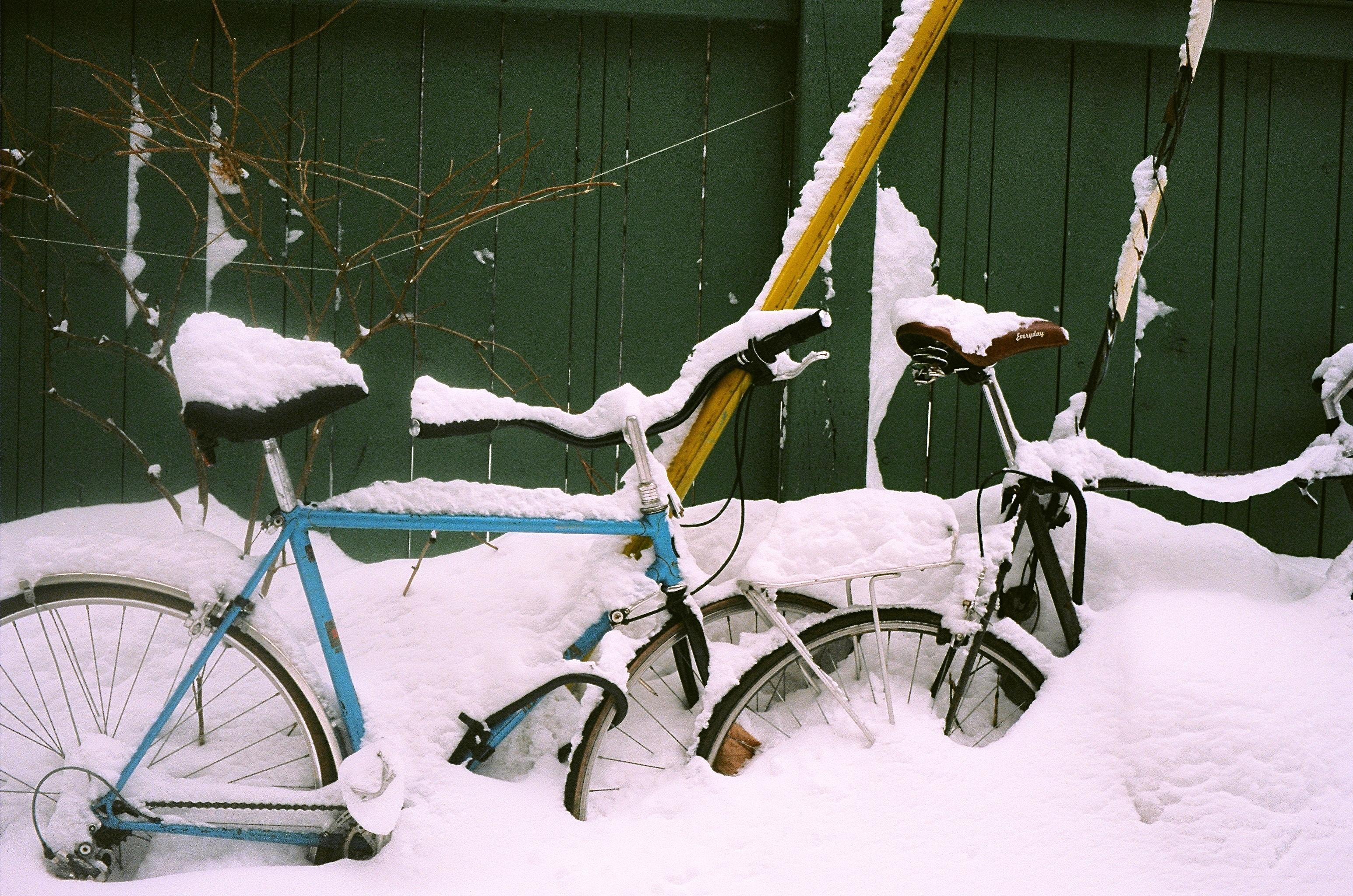 замечательно вымазать картинка велосипед и зима самые