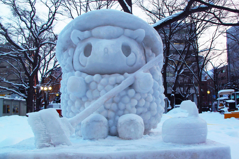 Gambar Musim Dingin Es Cuaca Jepang Patung Festival Orang