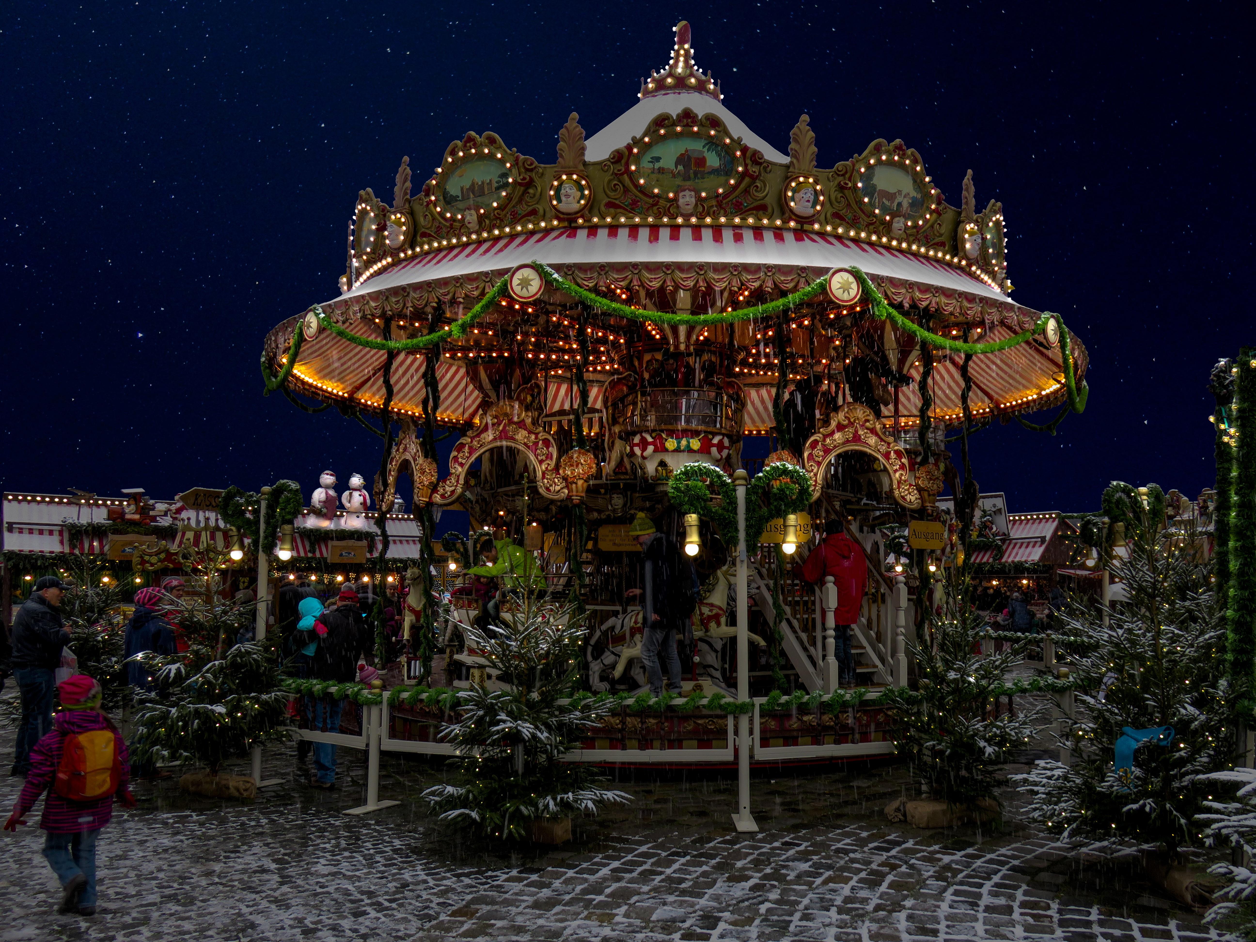 Free Images Snow Winter Light Amusement Park Carousel