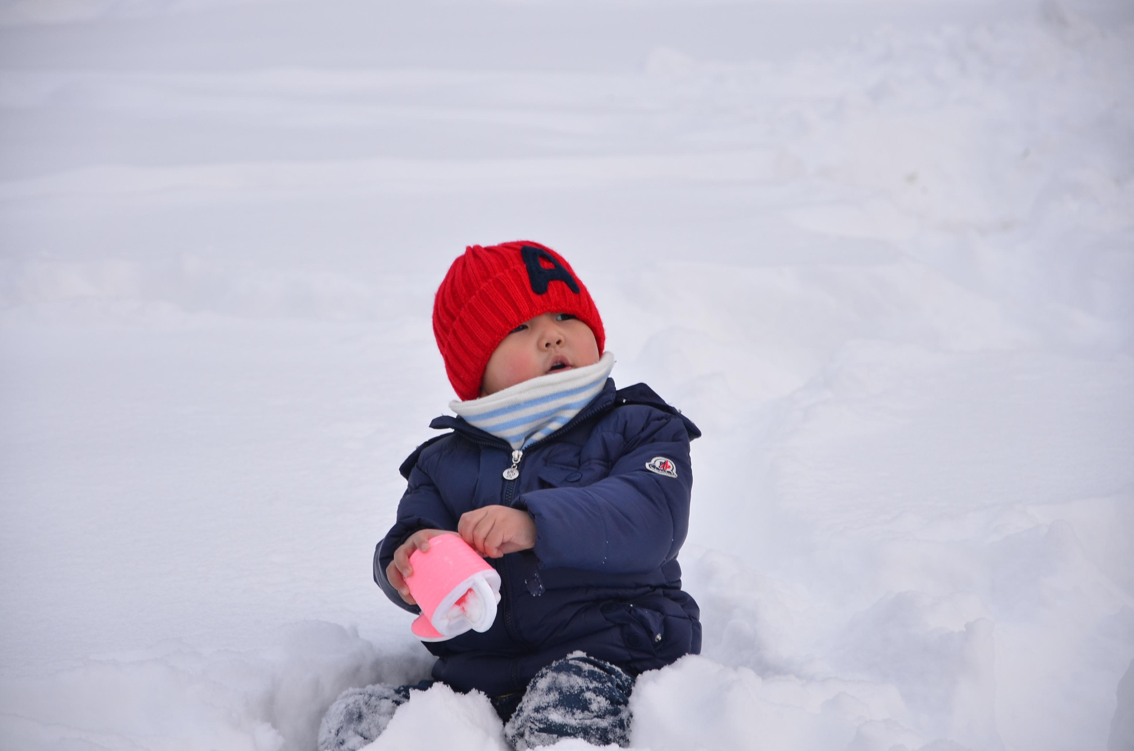Gambar Musim Dingin Bermain Merah Cuaca Topi Anak Anak Orang