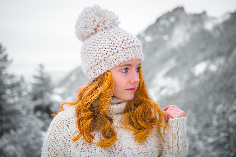 Kostenlose foto : Schnee, Winter, Frau, weiblich, Frühling, Hut ...