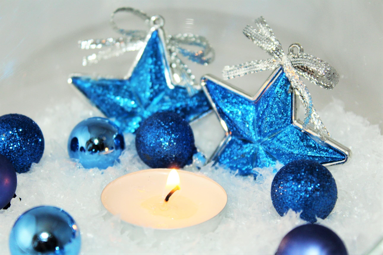 Decorare Candele Di Natale : Immagini belle stella blu candela arredamento albero di