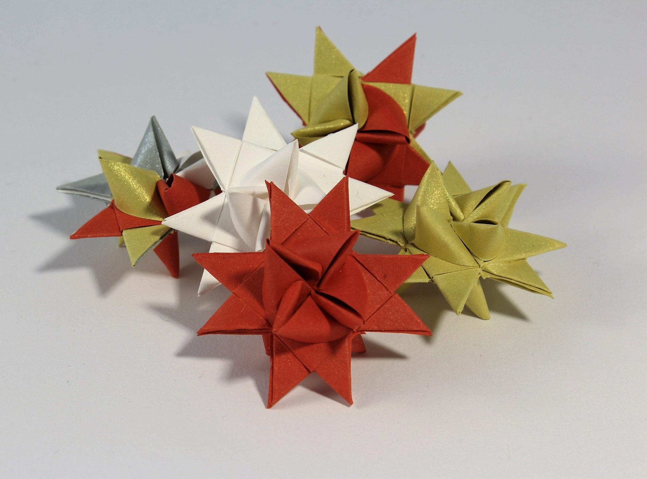 estrella rojo arte vistoso navidad papel decoracin navidea oro plata simetra doblez poinsettia origami atmosfrico papel